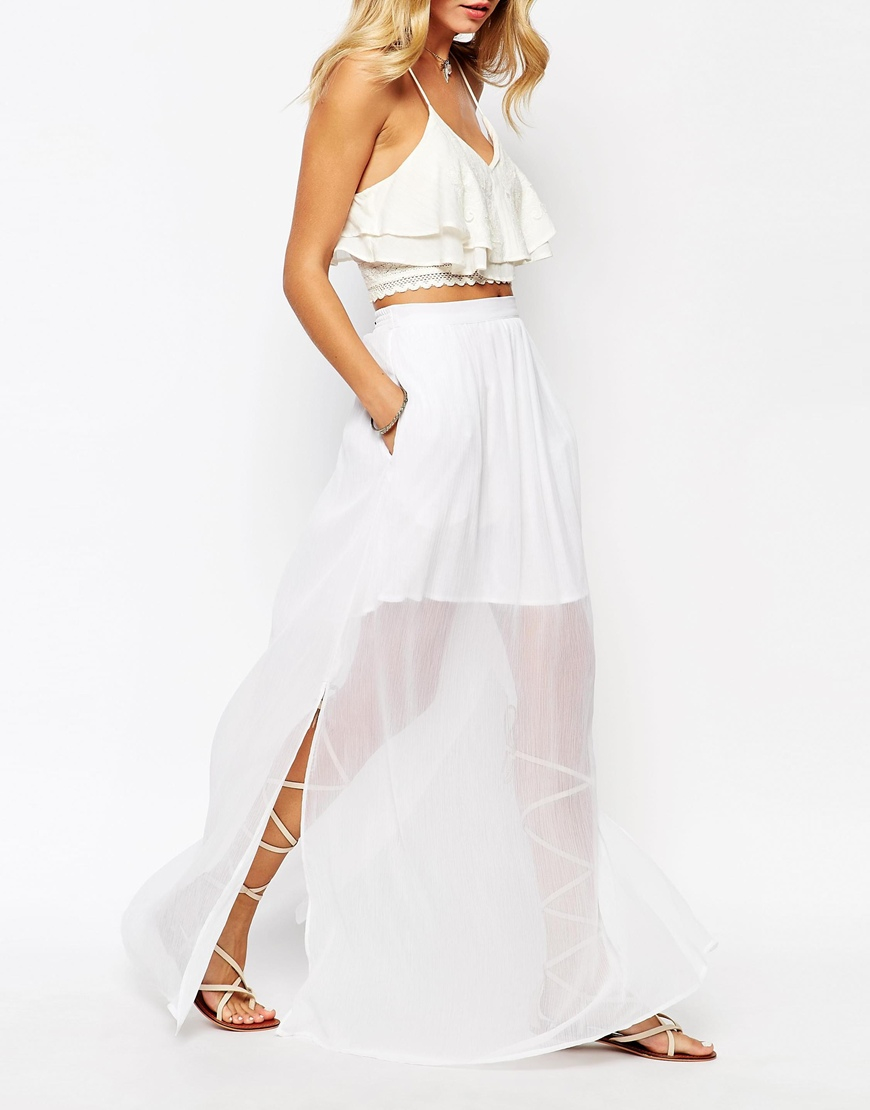 Mango Chiffon Maxi Skirt in White | Lyst