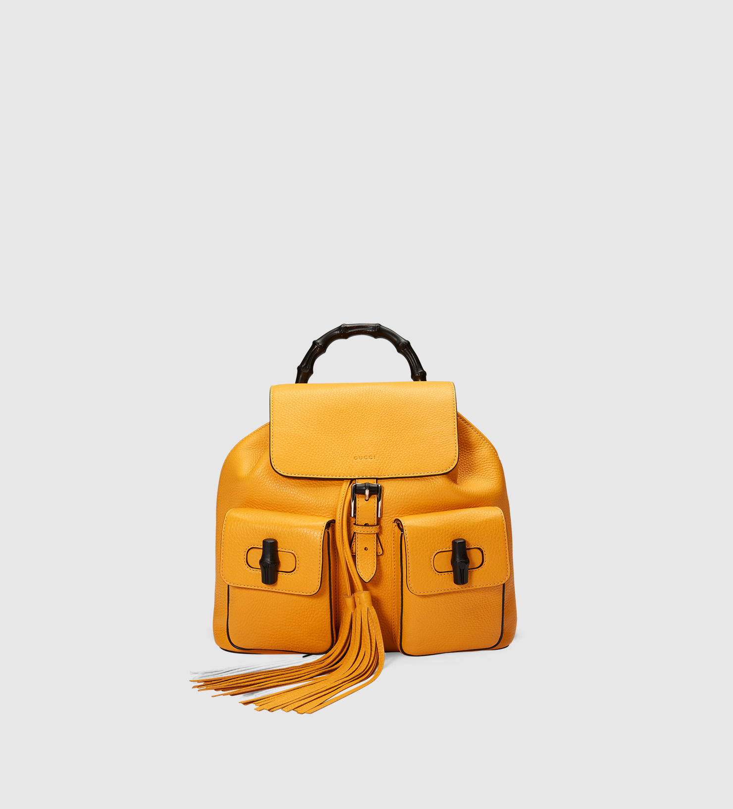 f2fae857291 Gucci Bamboo Leather Backpack in Yellow - Lyst