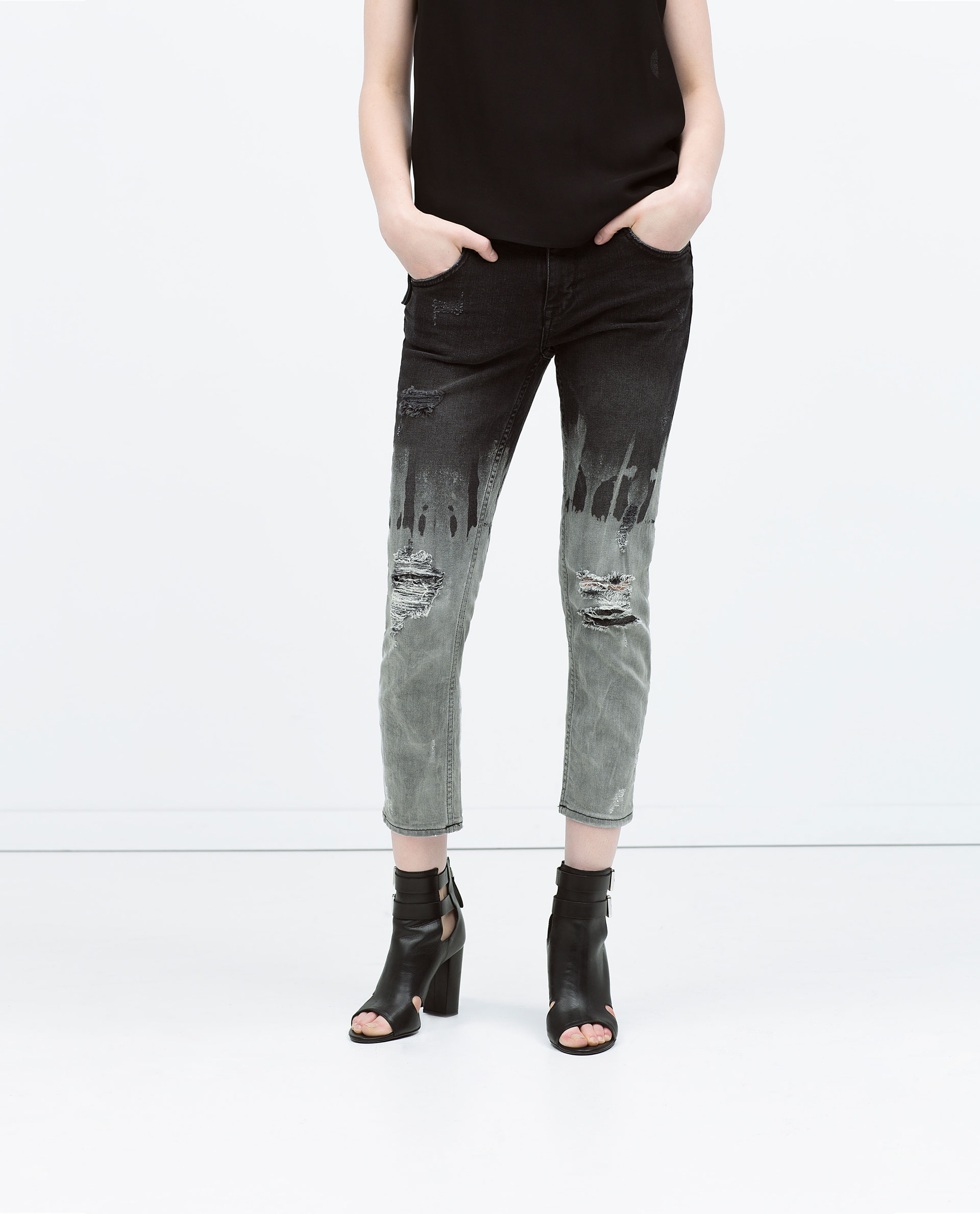 Zara Bleached Cigarette Jeans in Black | Lyst