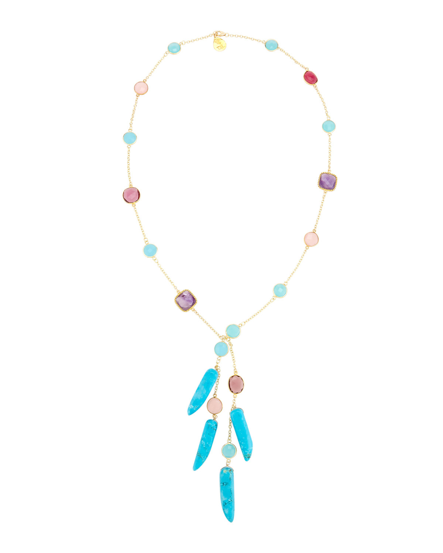 Devon Leigh Rainbow Spike Quartz Necklace ss74rE