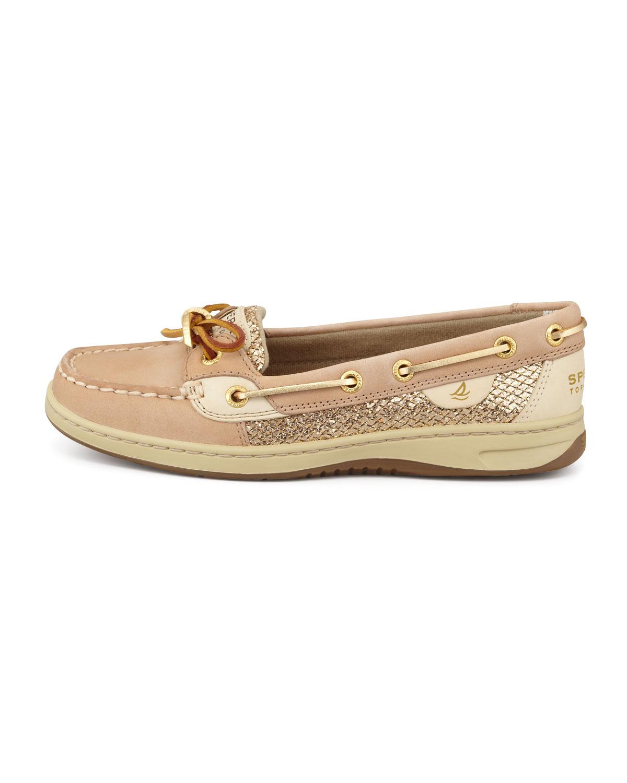 Angelfish Slip On Boat Shoe Linen Gold Glitter