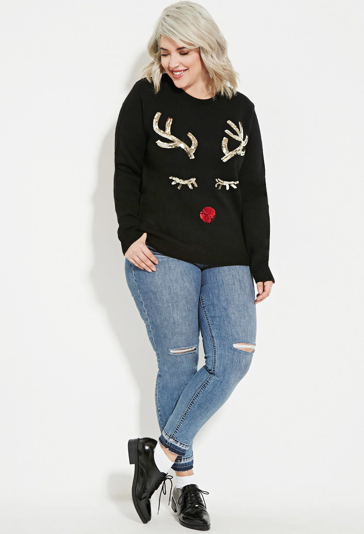 Lyst Forever 21 Plus Size Sequined Reindeer Graphic Sweater In Black