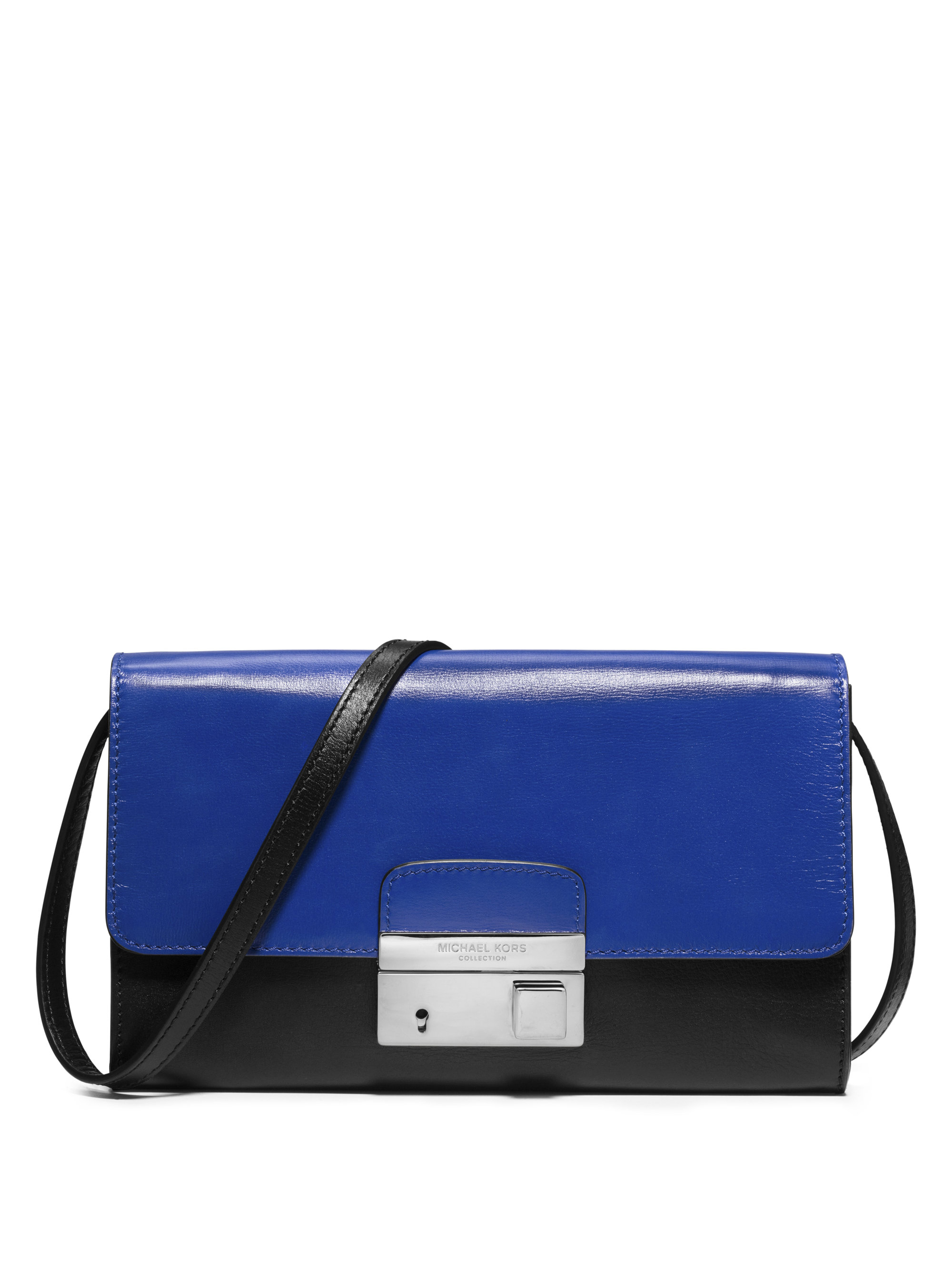 aedeb64a738297 ... Metallic Lyst; Michael kors Gia Two-tone Leather Convertible Clutch in  Blue