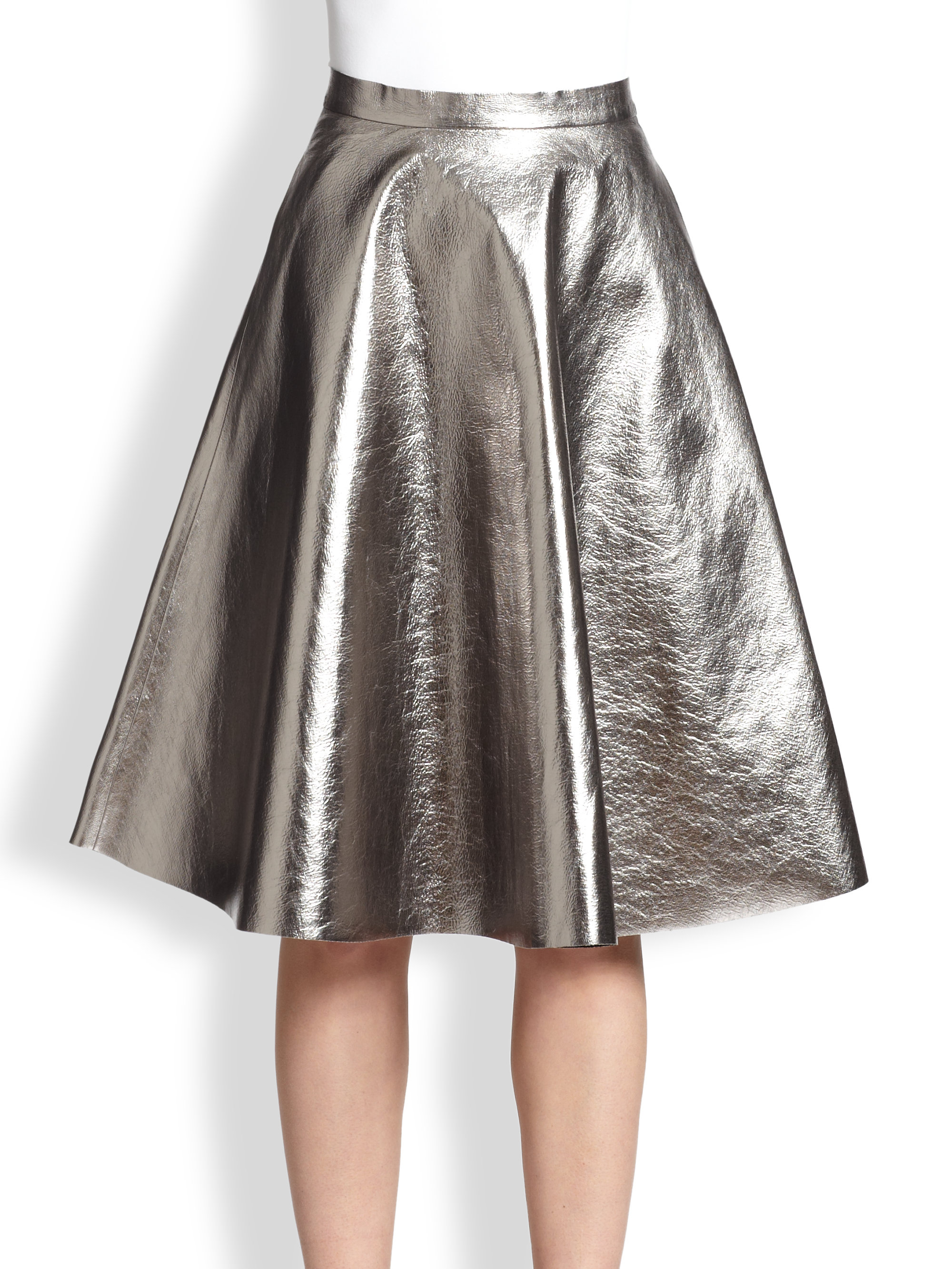 Msgm Metallic Faux Leather A-Line Skirt in Metallic | Lyst