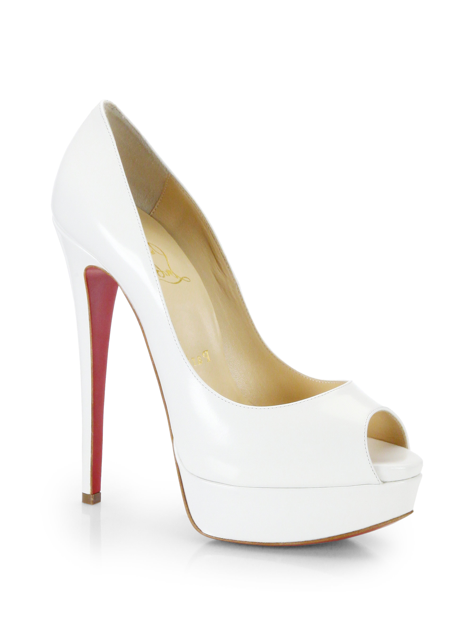 853d091dc2 ... usa lyst christian louboutin lady peep leather pumps in white 5bba2  80525