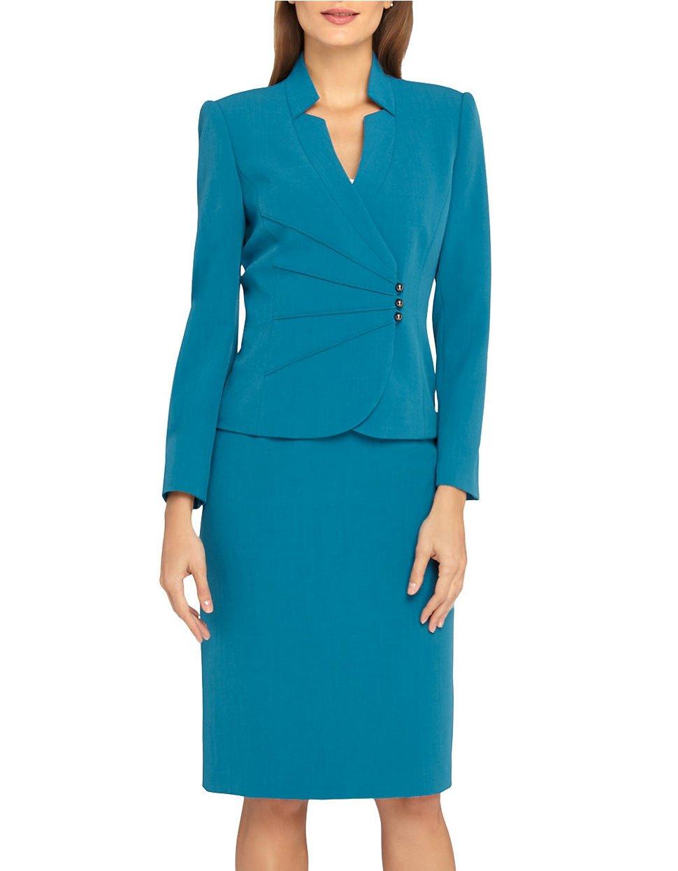 tahari 2 sunburst skirt suit in blue lyst