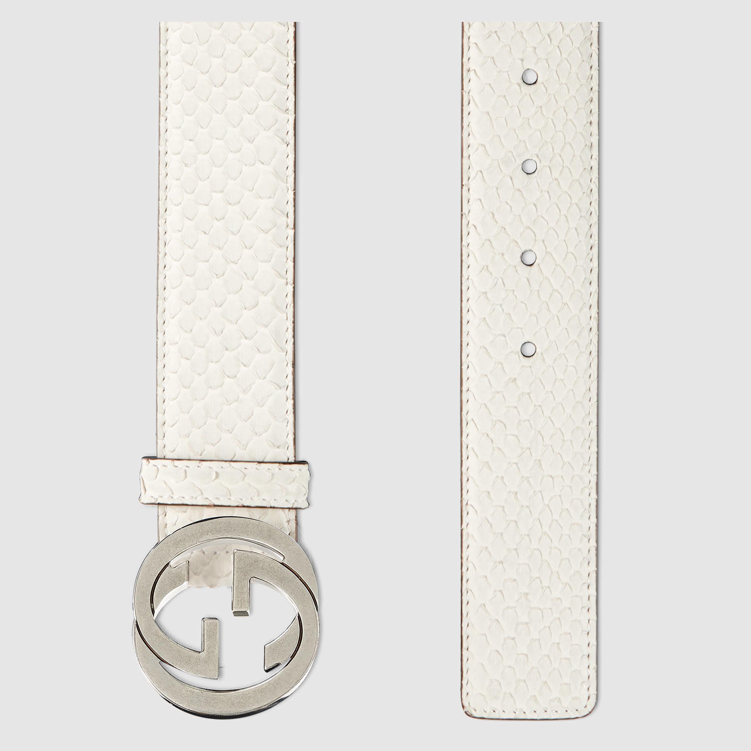 2da9d8434 Gucci Python Belt With Interlocking G in White - Lyst