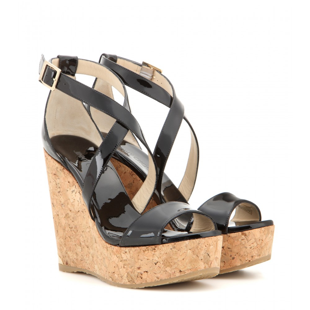 a455c9d75b Jimmy Choo Portia Patent Leather Wedge Sandals in Black - Lyst