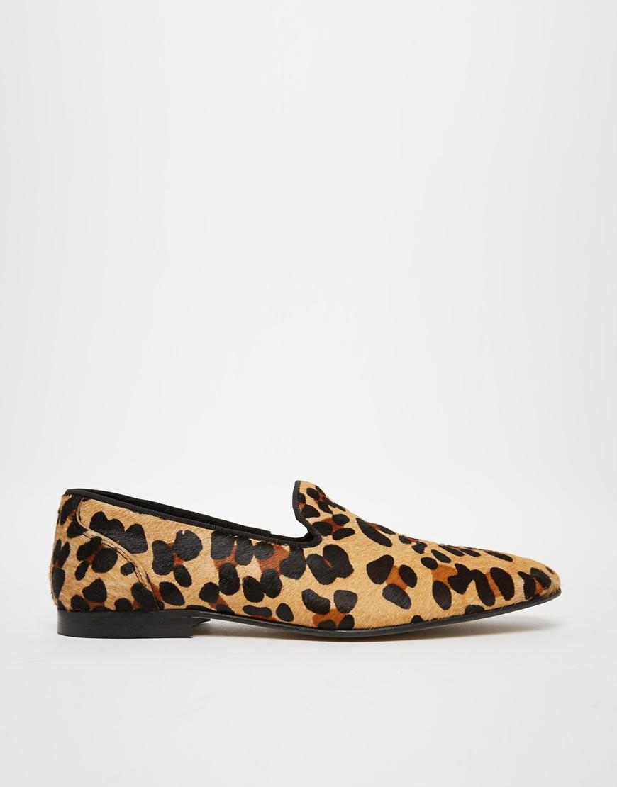 928667c76e56 ASOS Loafers In Leopard Skin Effect in Black for Men - Lyst