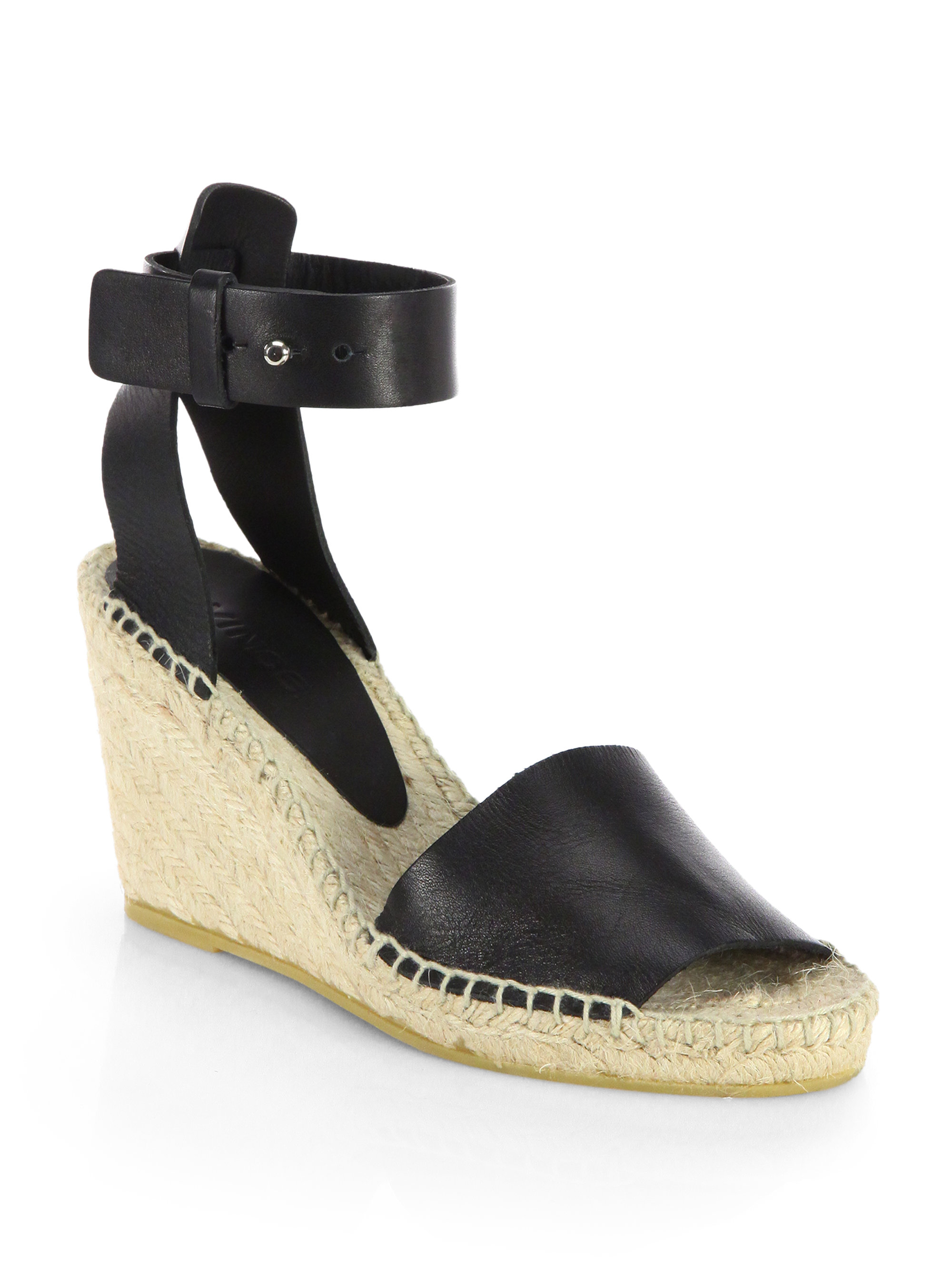 vince leather espadrille wedge sandals in black lyst
