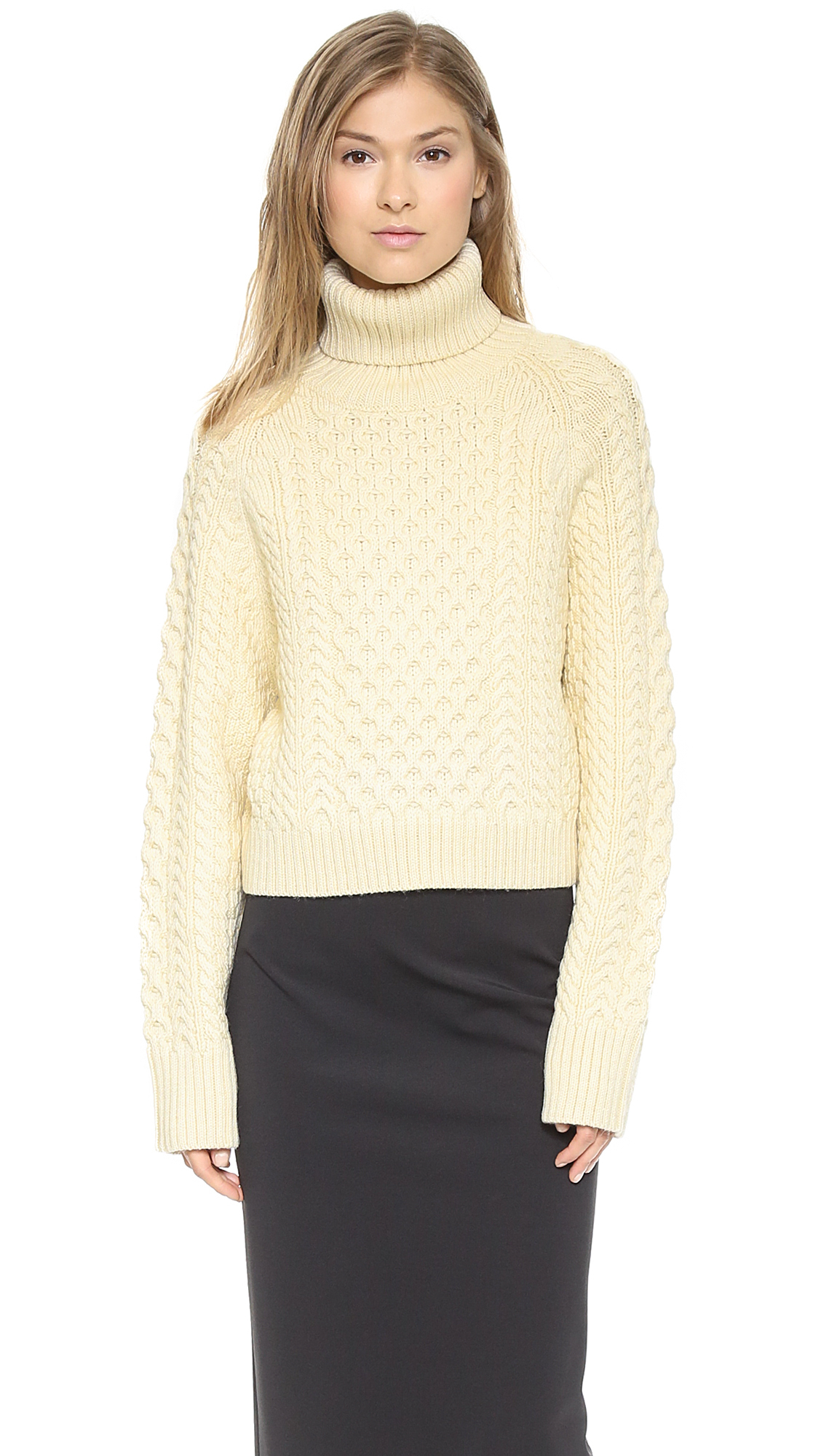 Apiece apart Carrine Cropped Turtleneck - Cream in Natural | Lyst