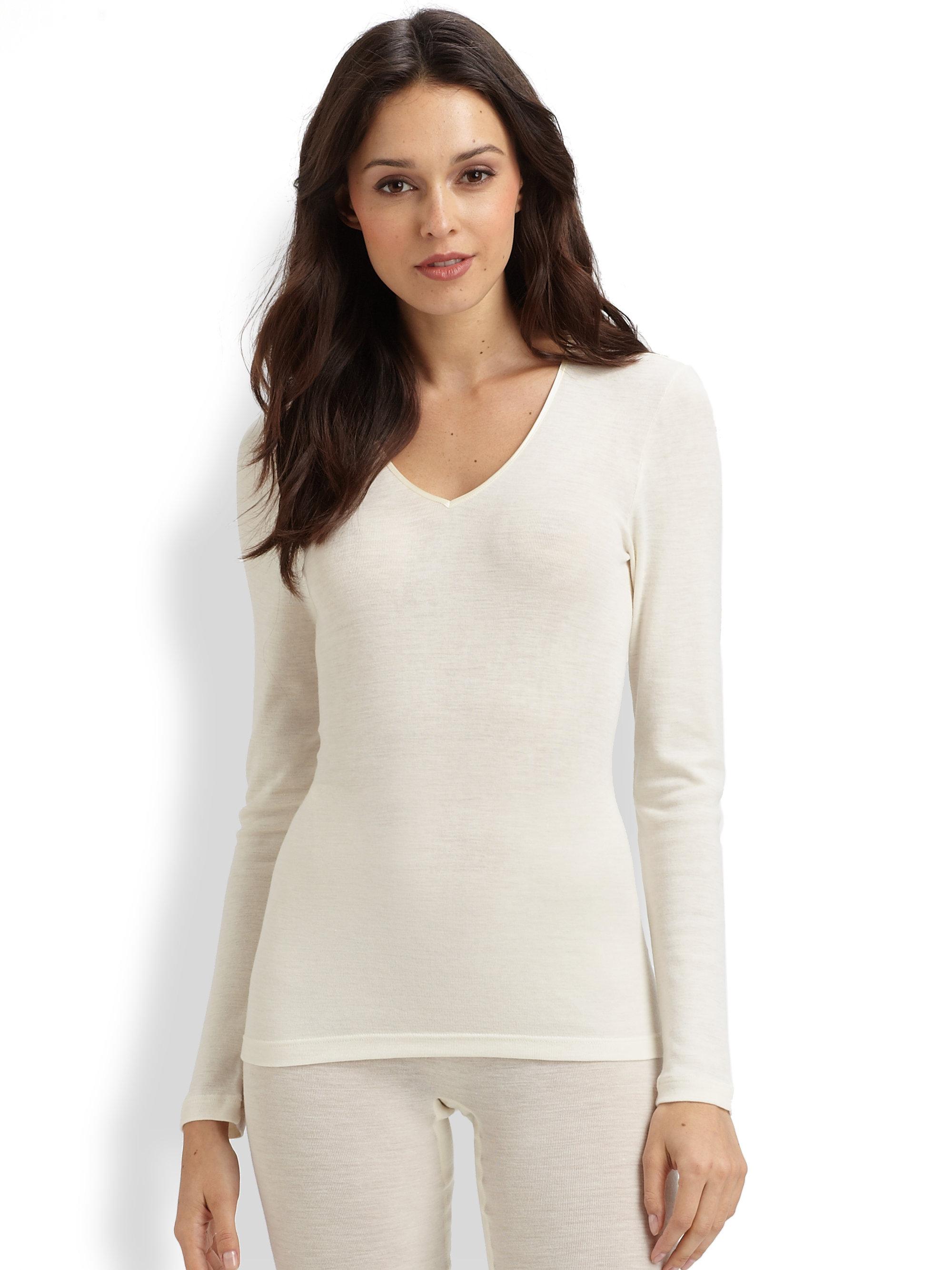 Hanro woollen silk long sleeve shirt in white lyst for Silk long sleeve shirt
