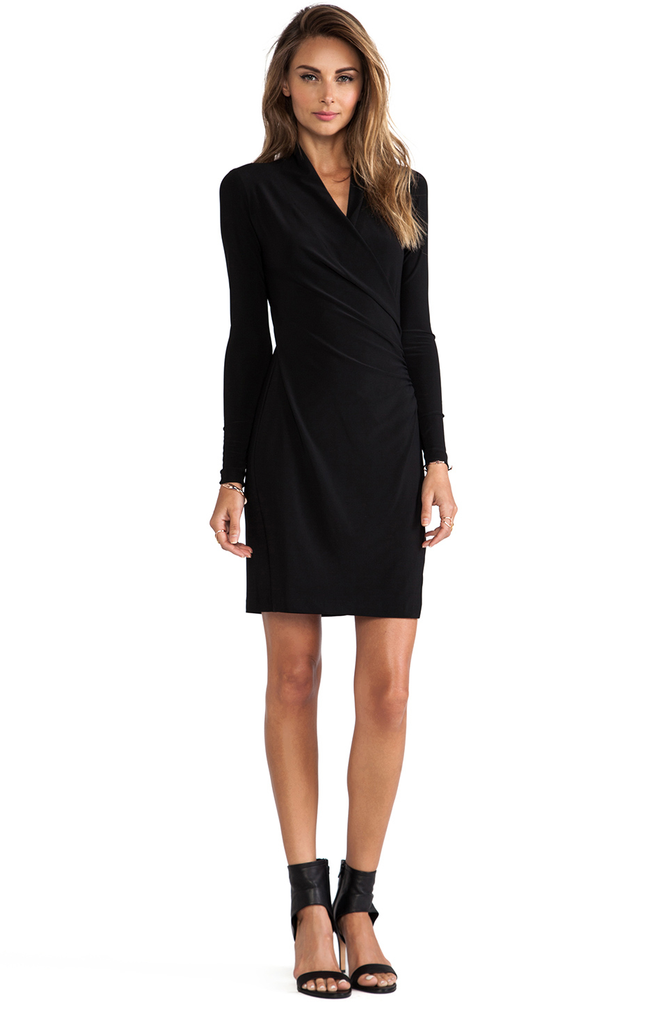 Norma kamali Kamalikulture Long Sleeve Side Draped Dress ...
