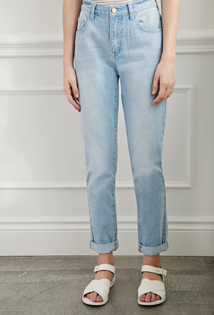 lyst forever 21 mom fit jeans in blue. Black Bedroom Furniture Sets. Home Design Ideas
