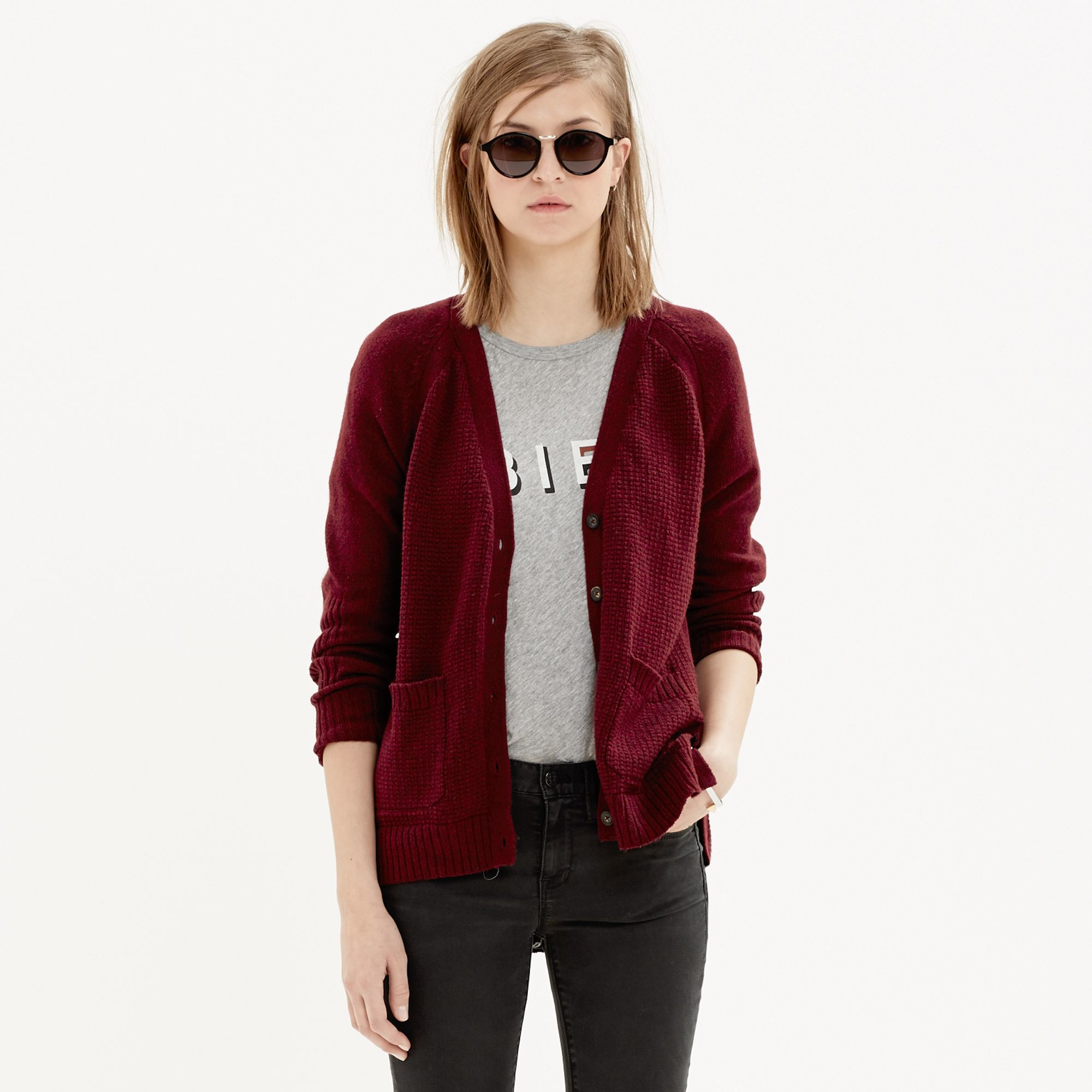 Madewell Texturework Cardigan in Red | Lyst