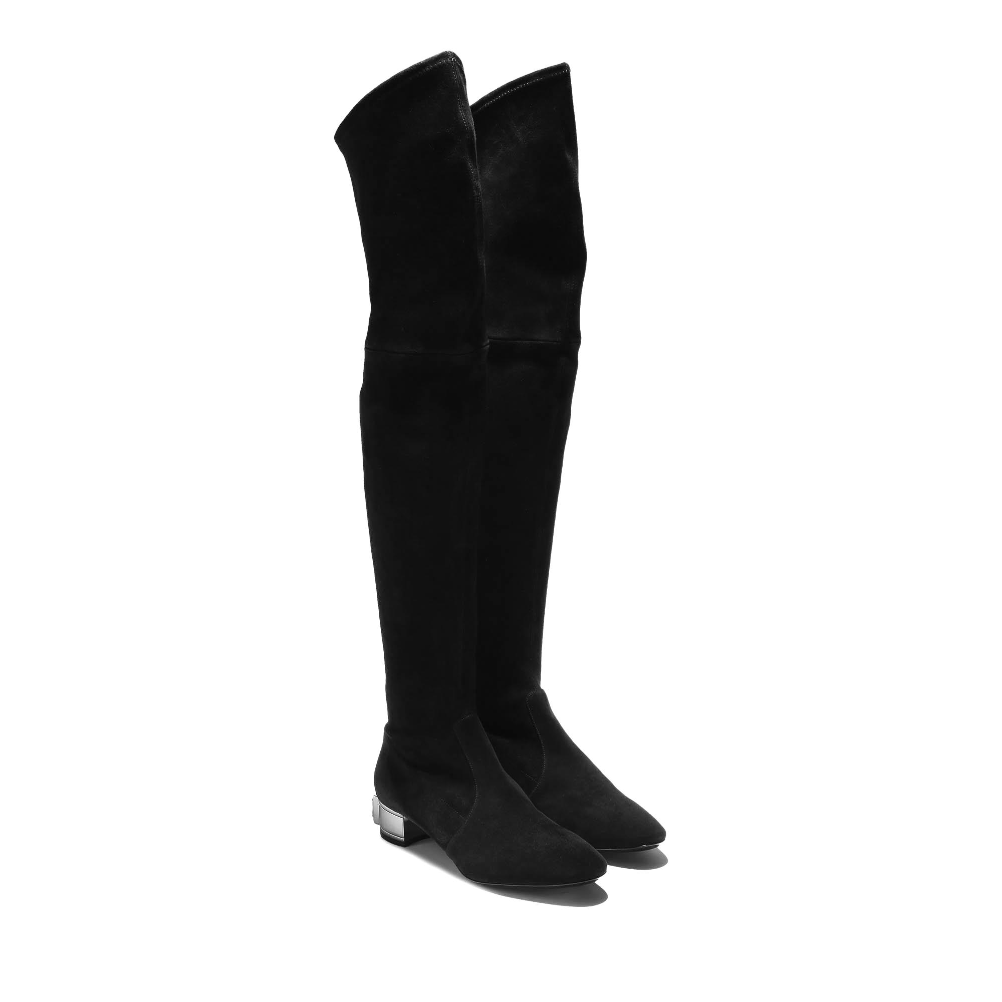 casadei soraya stretch suede thigh high boots in black lyst