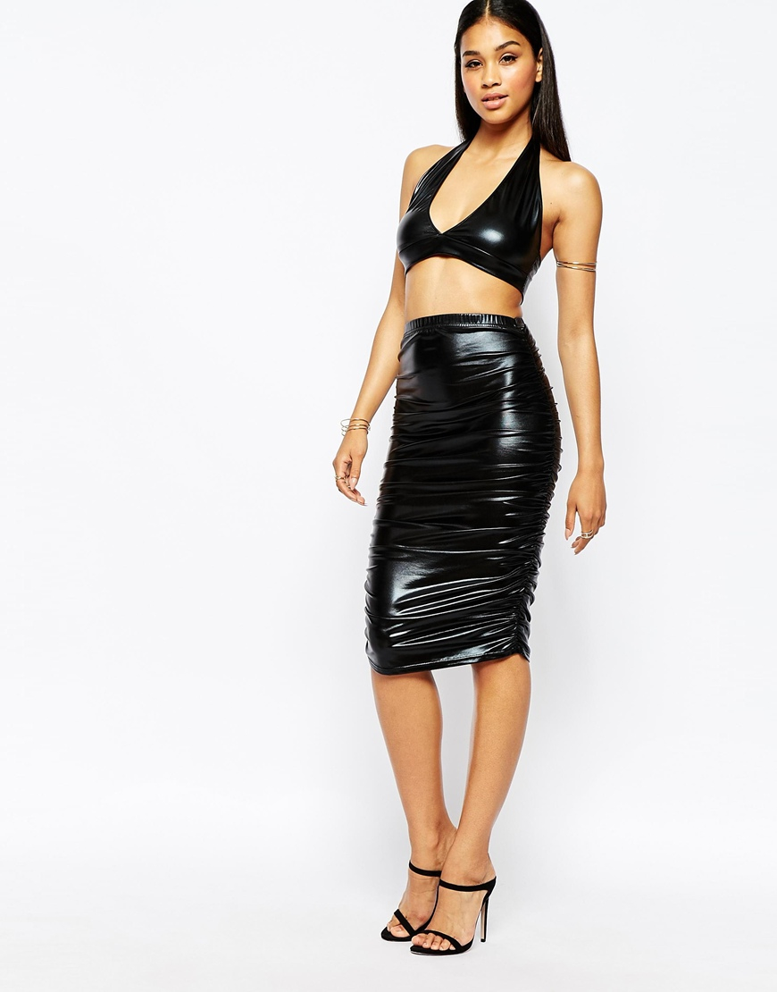 Club l Ruched High Shine Pencil Skirt In Leather Look in Black | Lyst