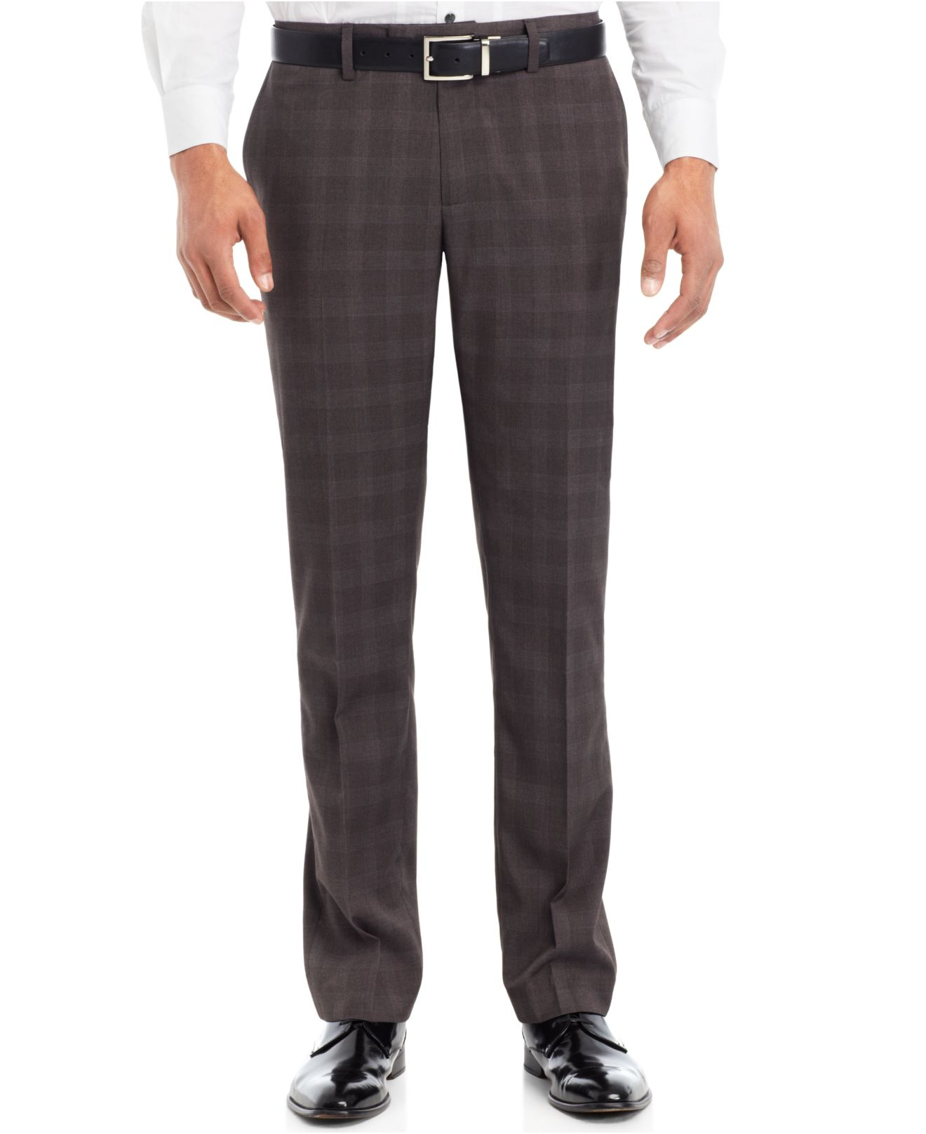 Kenneth Cole Reaction Super Slim Plaid Dress Pants In Gray