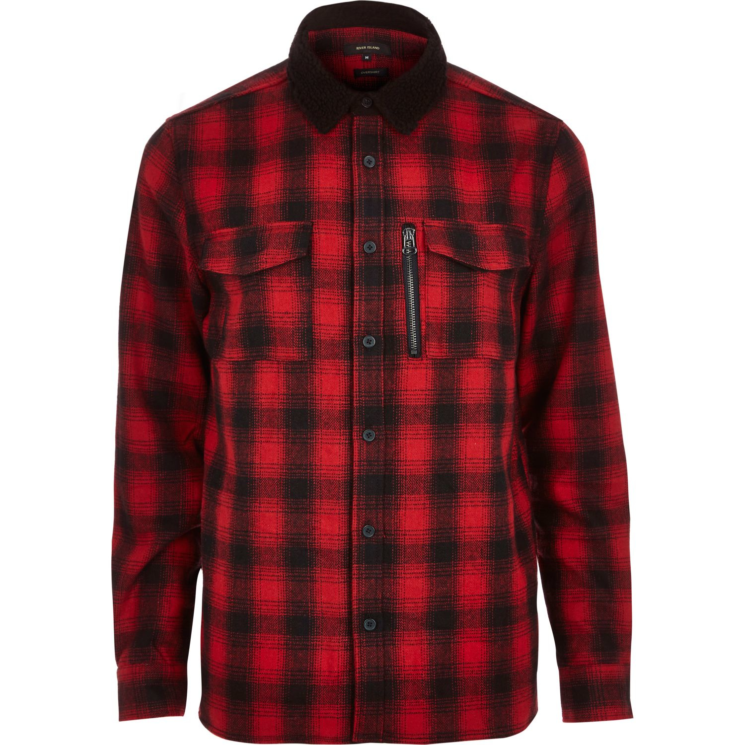Lyst river island red check flannel shirt jacket in red for Zip front flannel shirt