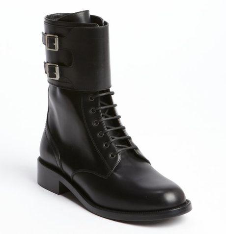 Saint Laurent Black Leather Double Buckle Detail Lace Up