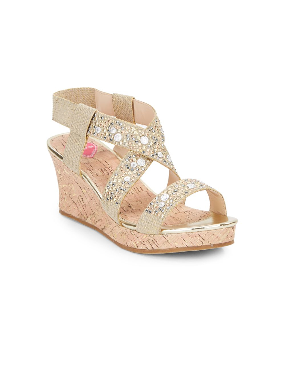045954a55207 Flowers By Zoe Girl s Jeweled Wedge Sandals in Natural - Lyst