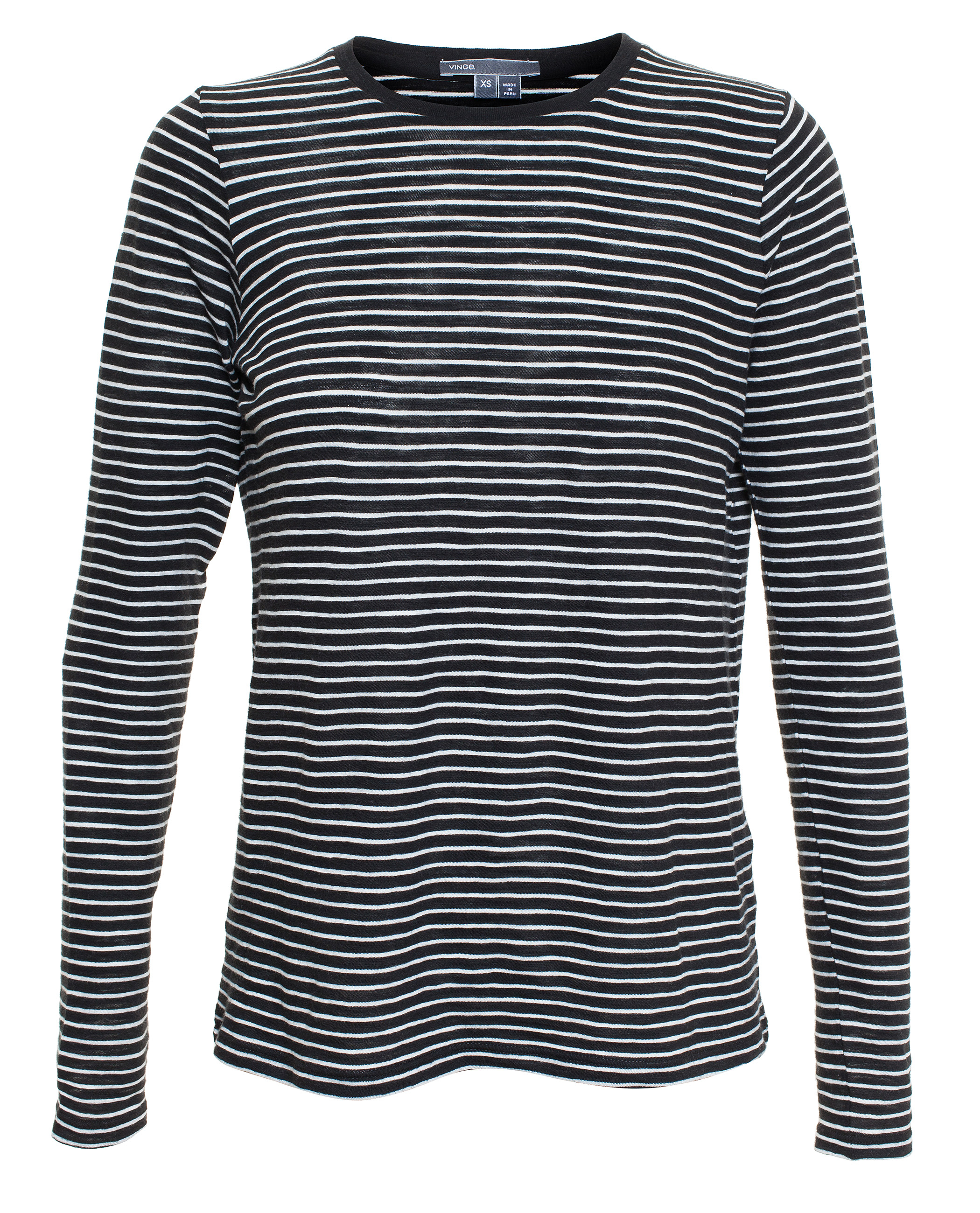 Vince striped long sleeve t shirt in black lyst for Black and white striped long sleeve shirt women