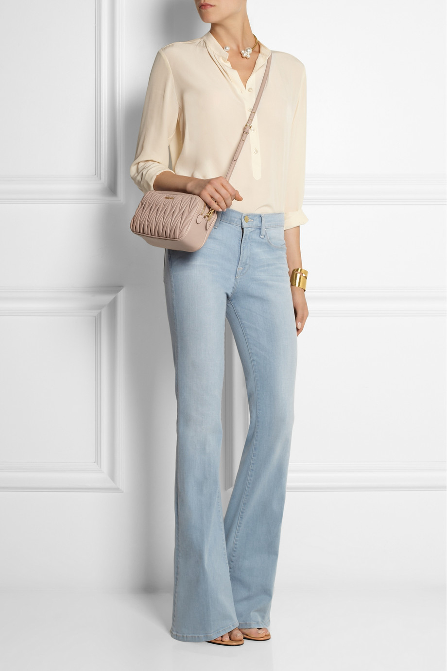 04398cb27cac Lyst - Miu Miu Matelassé Leather Shoulder Bag in Natural