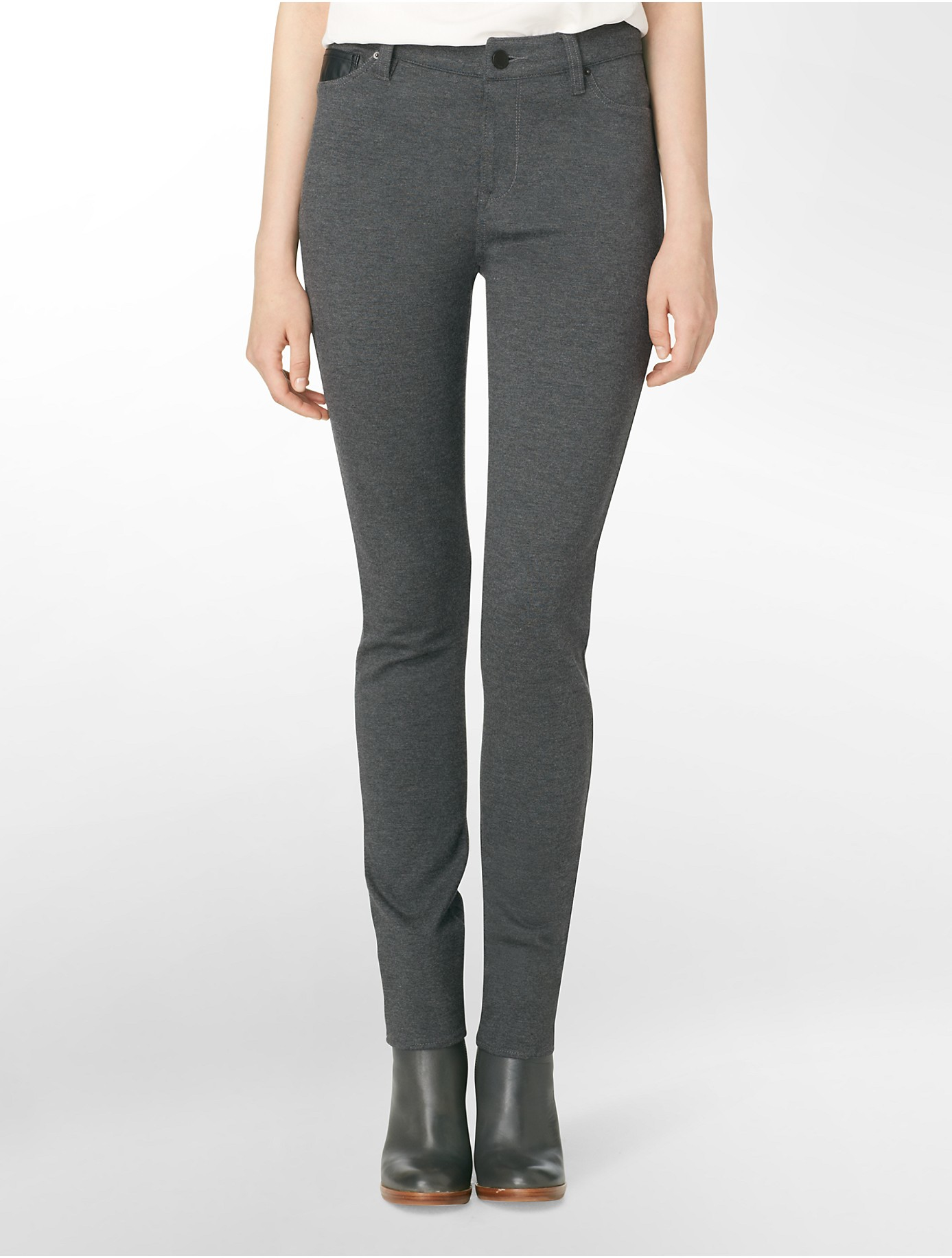 calvin klein jeans 5 pocket ponte leggings in gray charcoal. Black Bedroom Furniture Sets. Home Design Ideas
