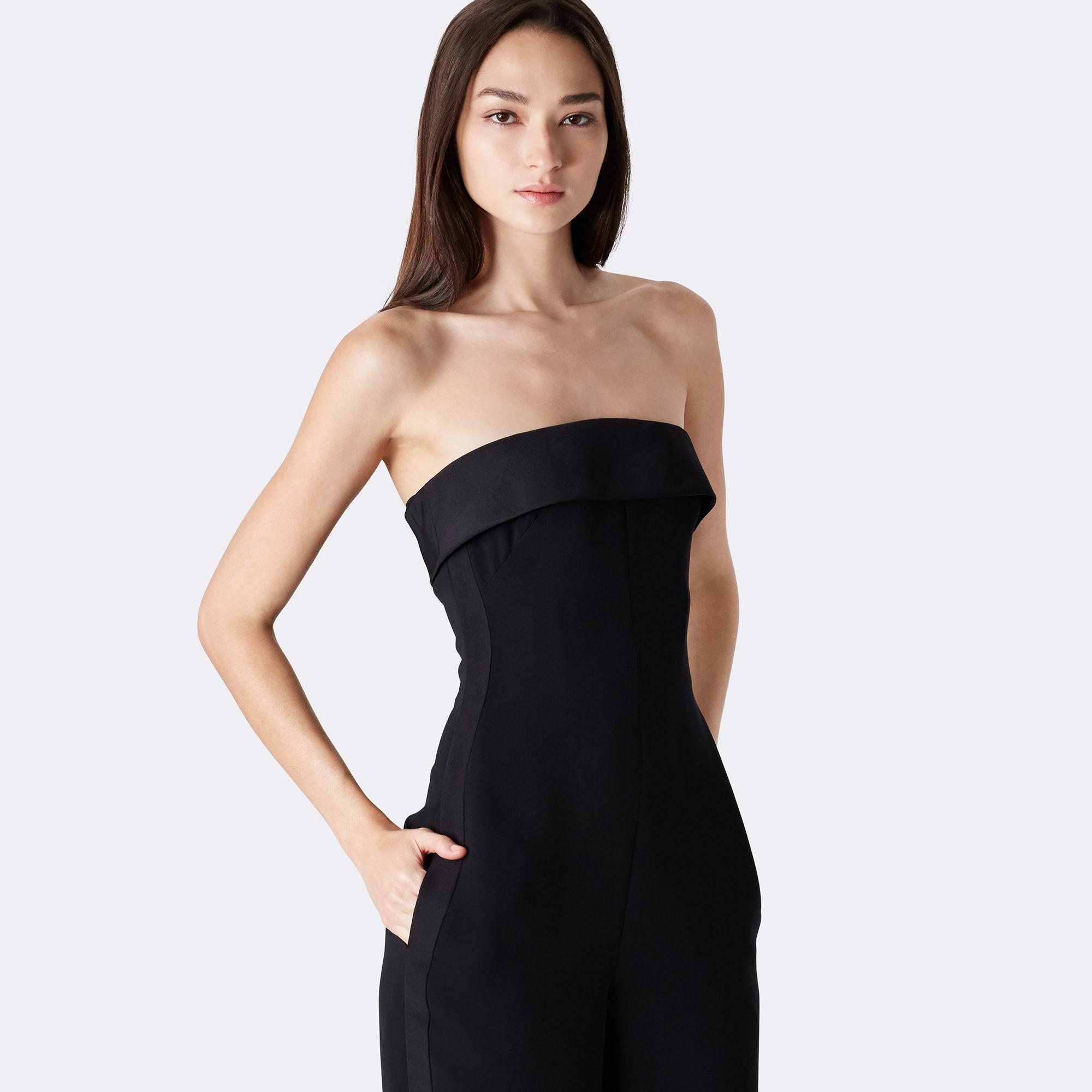 fc2058115550 Ralph Lauren Cate Strapless Silk Jumpsuit in Black - Lyst