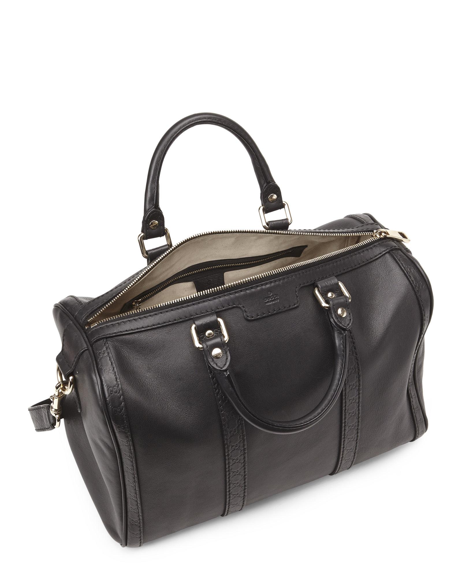 18ef127958e7 Gucci Black Leather & Microssima Joy Boston Bag in Black - Lyst