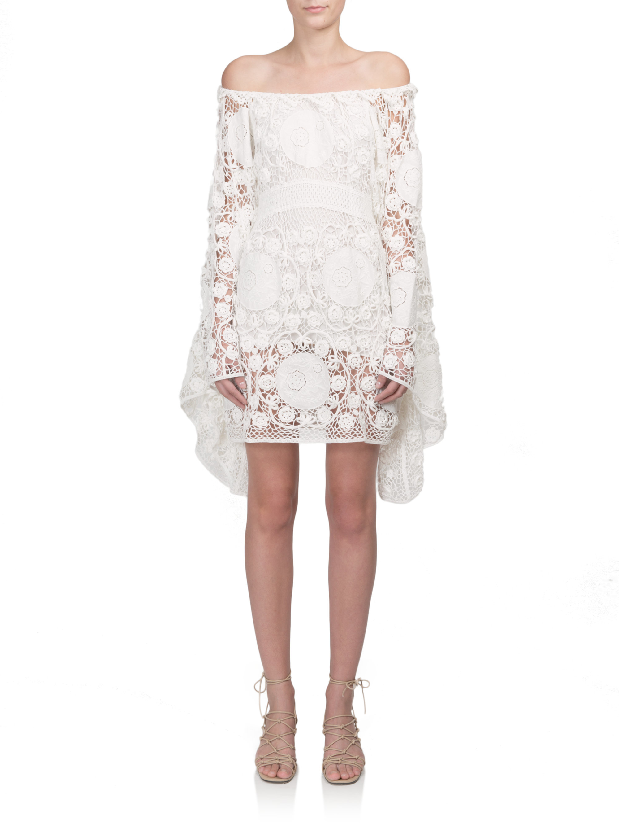 Chloé Off The Shoulder Crochet Dress In White Lyst