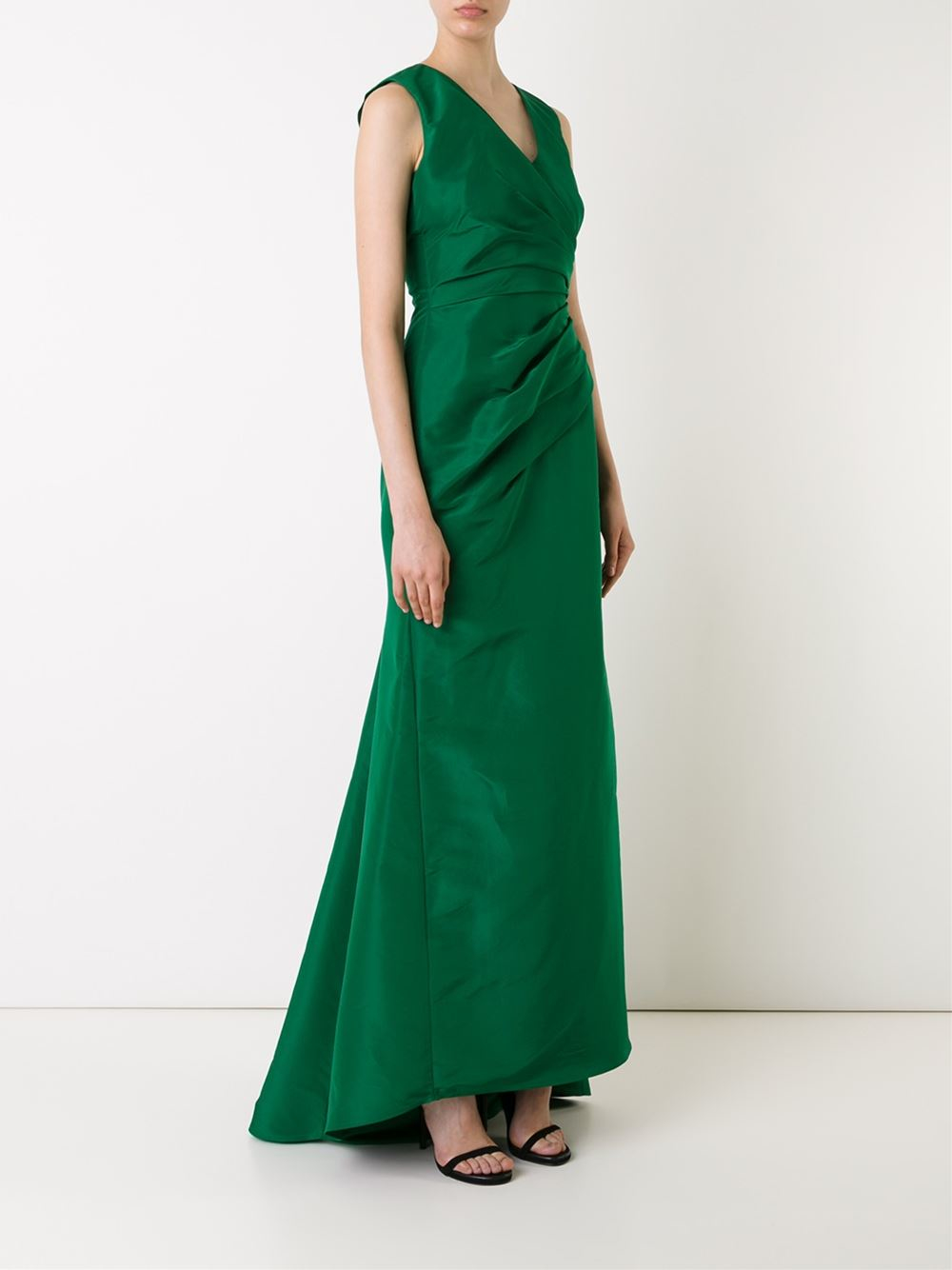 Carolina Herrera Draped Evening Dress In Green Lyst