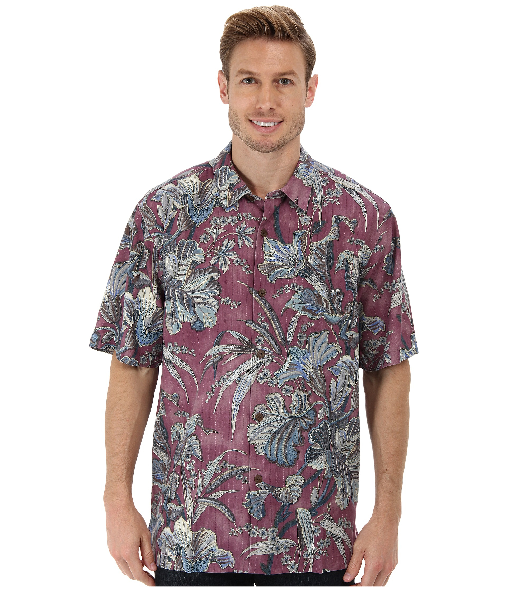 Tommy bahama botanica bay ss camp shirt in pink for men for Tommy bahama christmas shirt 2014