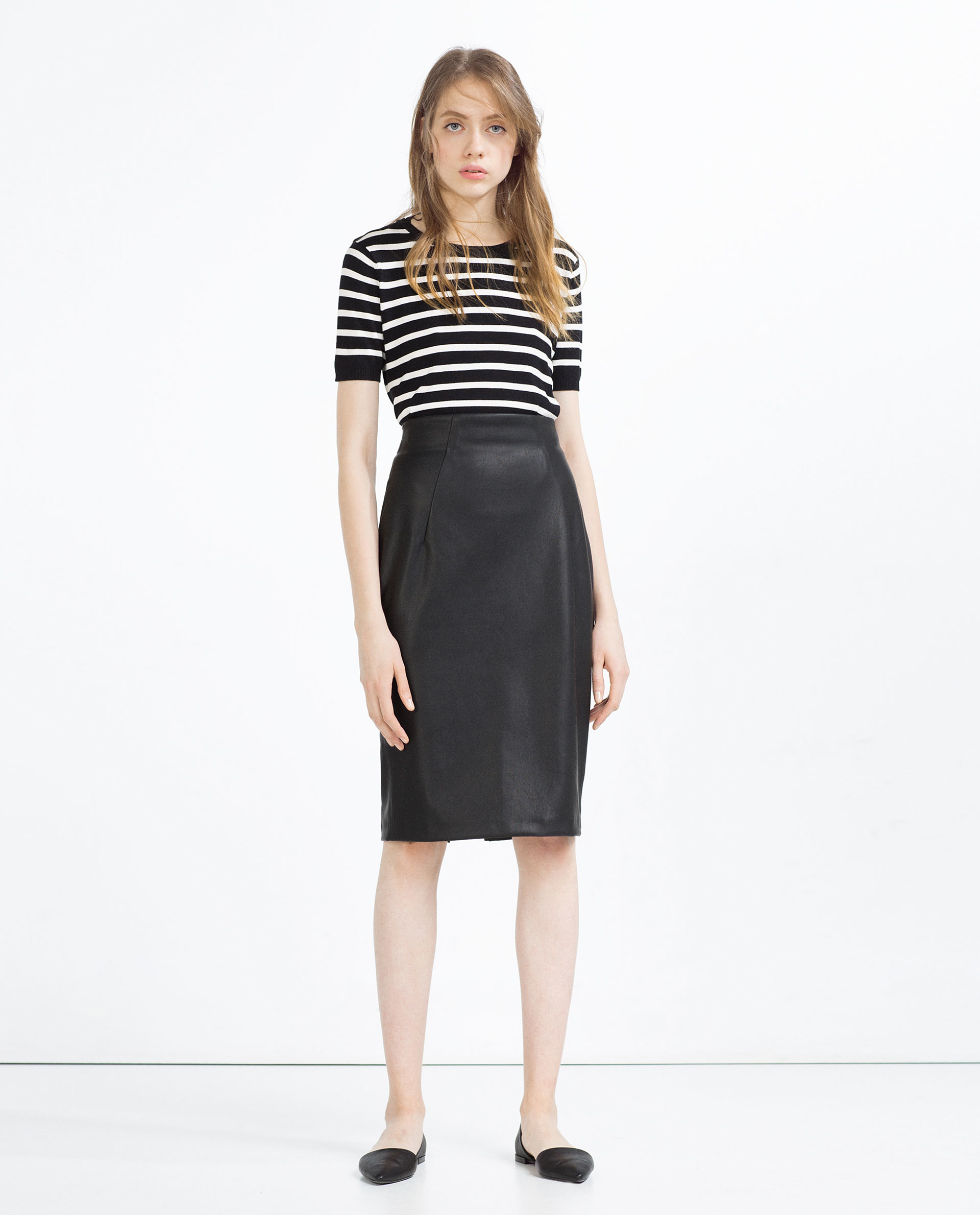 Zara Faux Leather Pencil Skirt in Black | Lyst