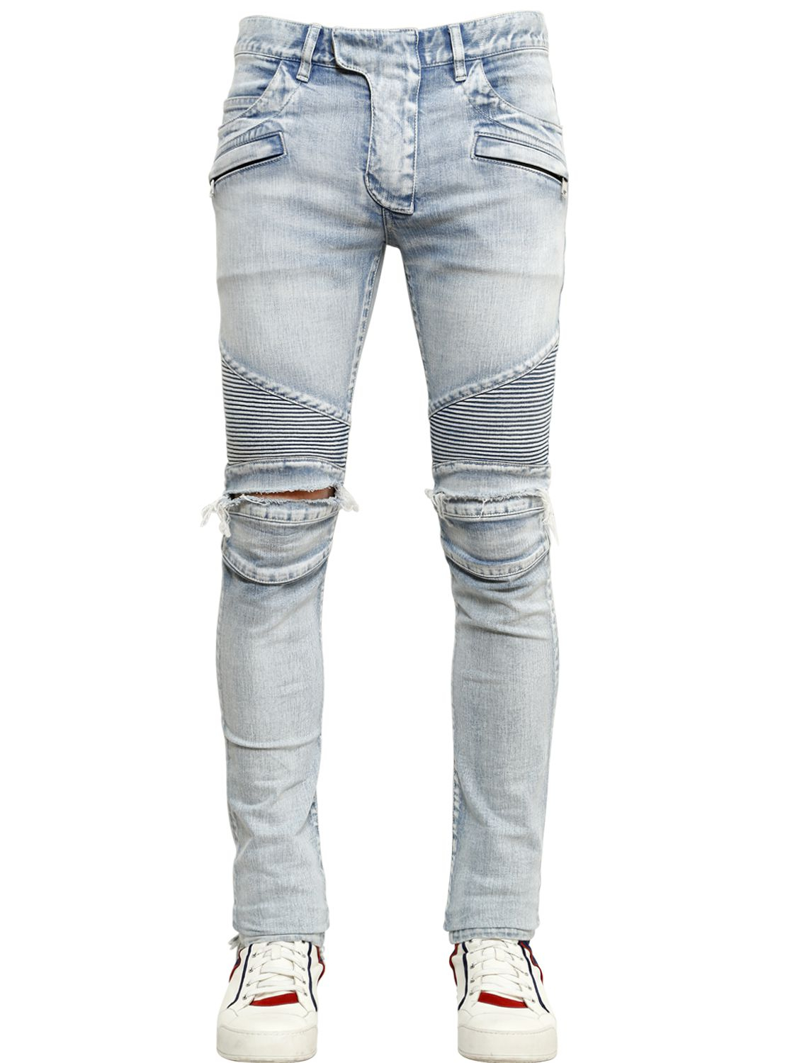 Lyst Balmain 17cm Destroyed Stretch Denim Biker Jeans In