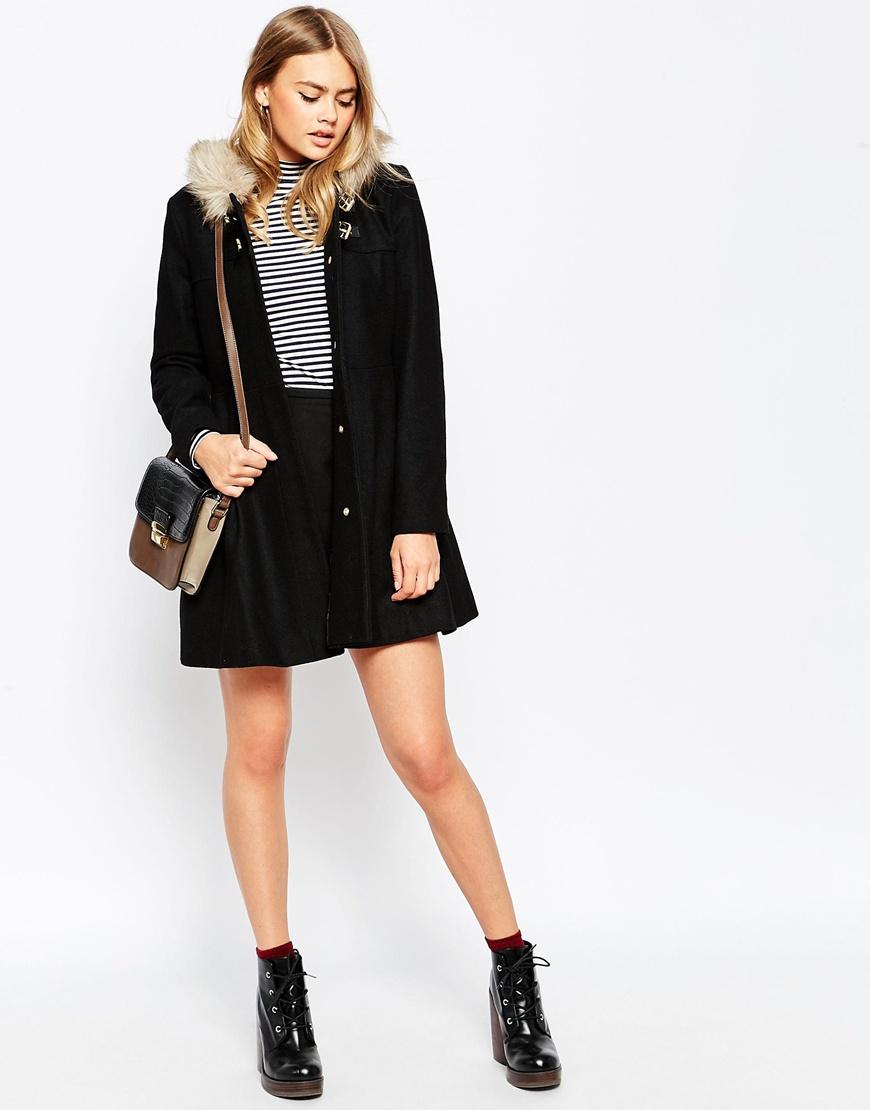 Asos Duffle Coat With Faux Fur Hood in Black | Lyst