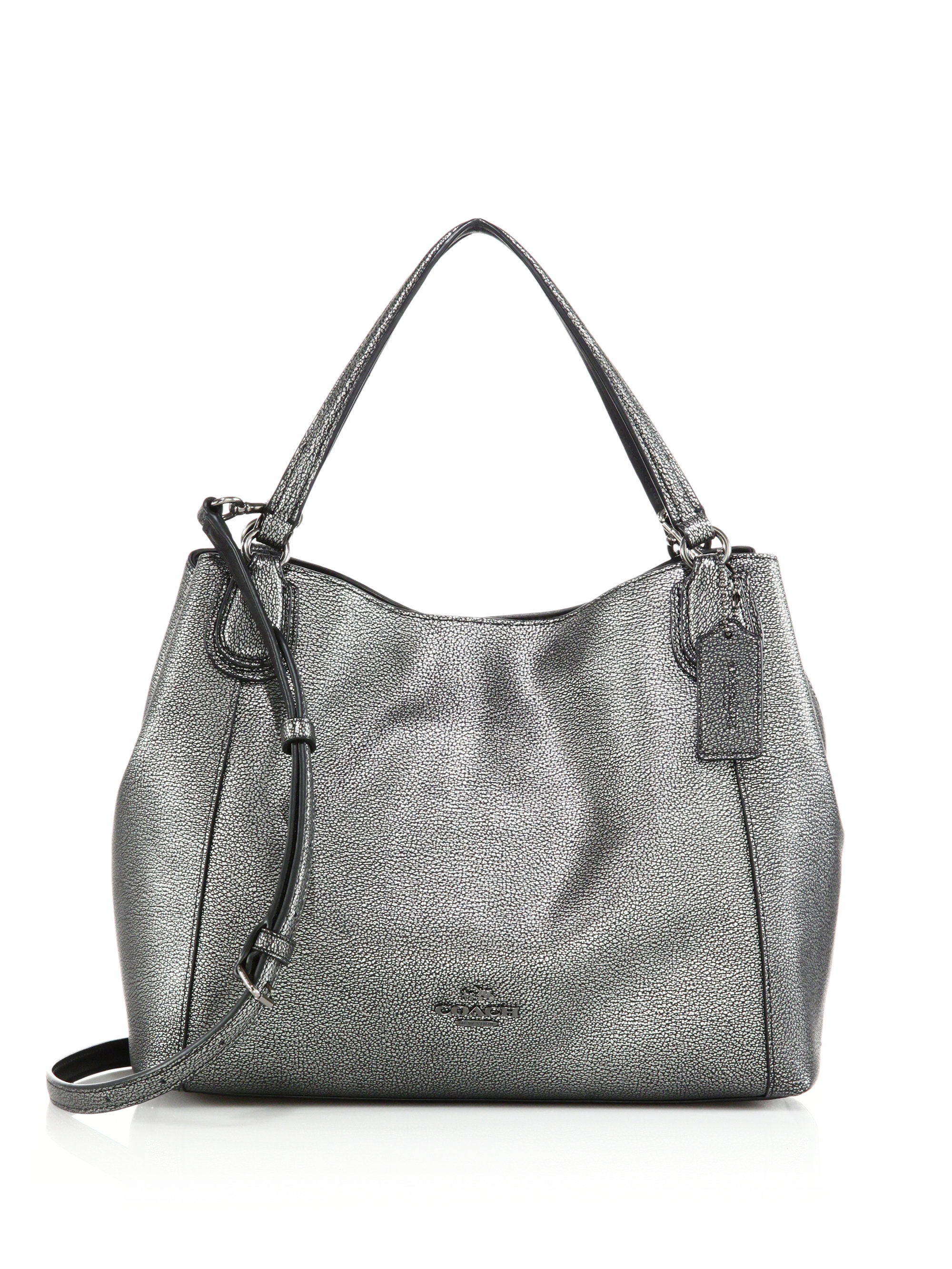 Lyst - COACH Edie Metallic Pebbled Leather Shoulder Bag in Metallic bf4030527d