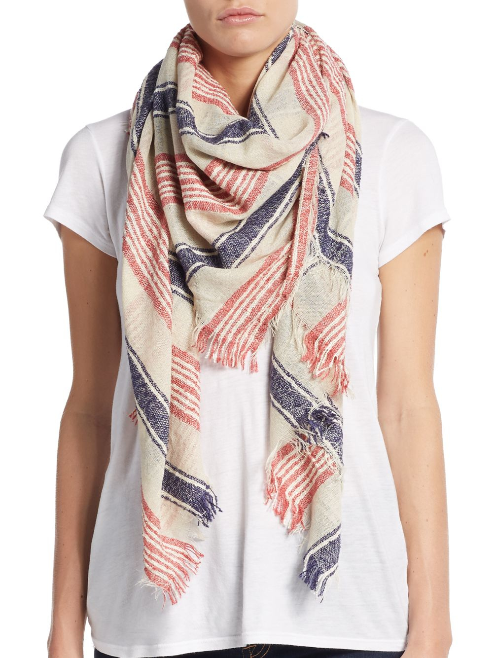 saks fifth avenue textured striped woven scarf in blue lyst