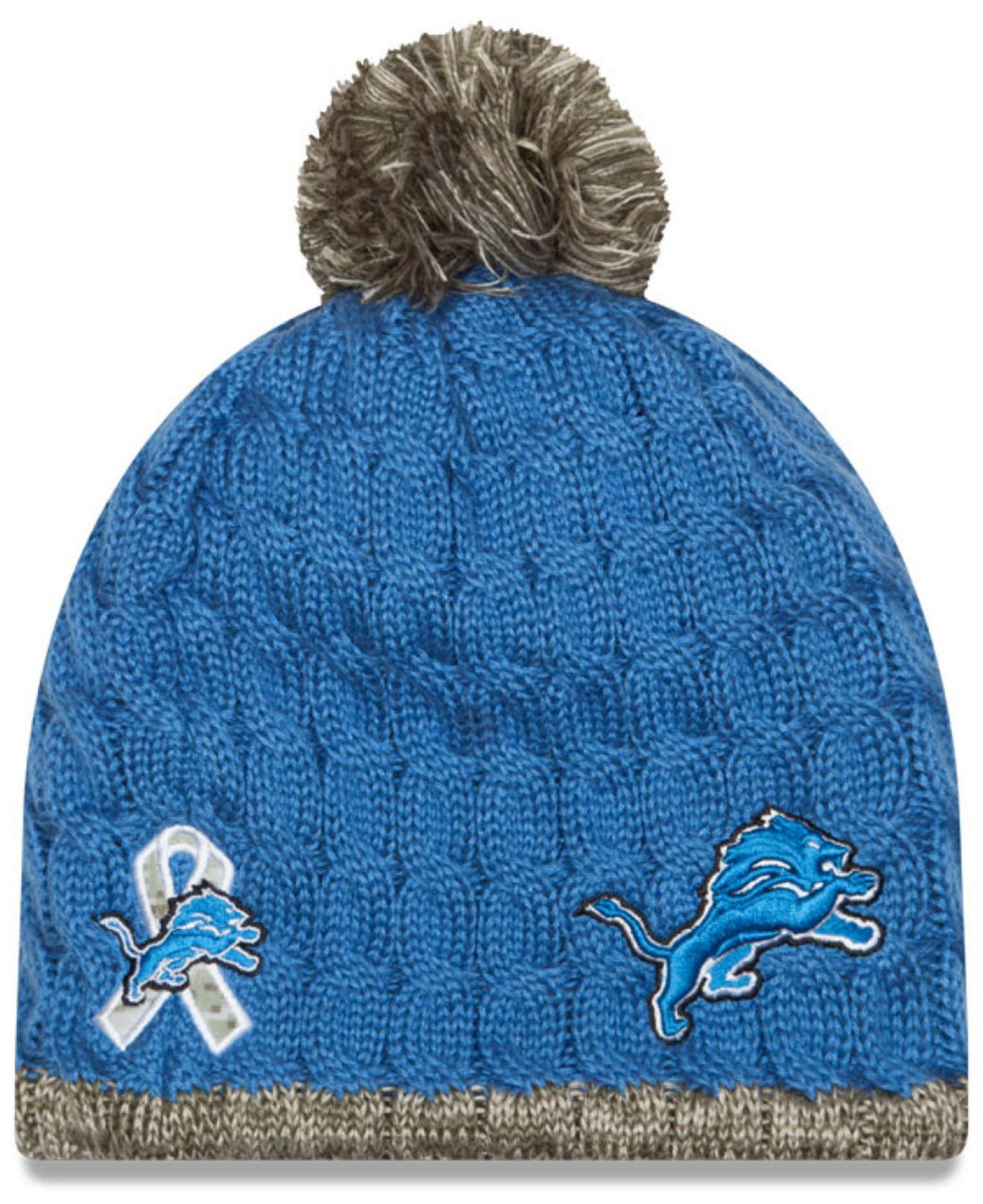 Lyst - KTZ Women s Detroit Lions Salute To Service Knit Hat in Blue ... ba563da0e