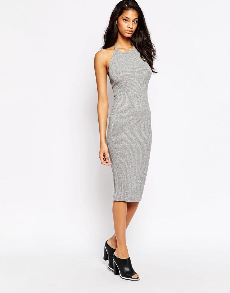 Asos Rib Halter Midi Dress in Gray | Lyst