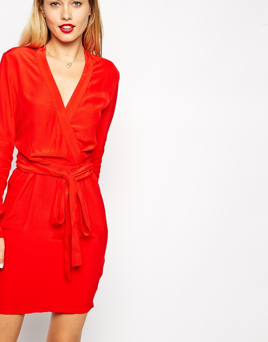c59121a4802 ASOS Wrap Dress With Tulip Skirt And Long Sleeves in Red - Lyst