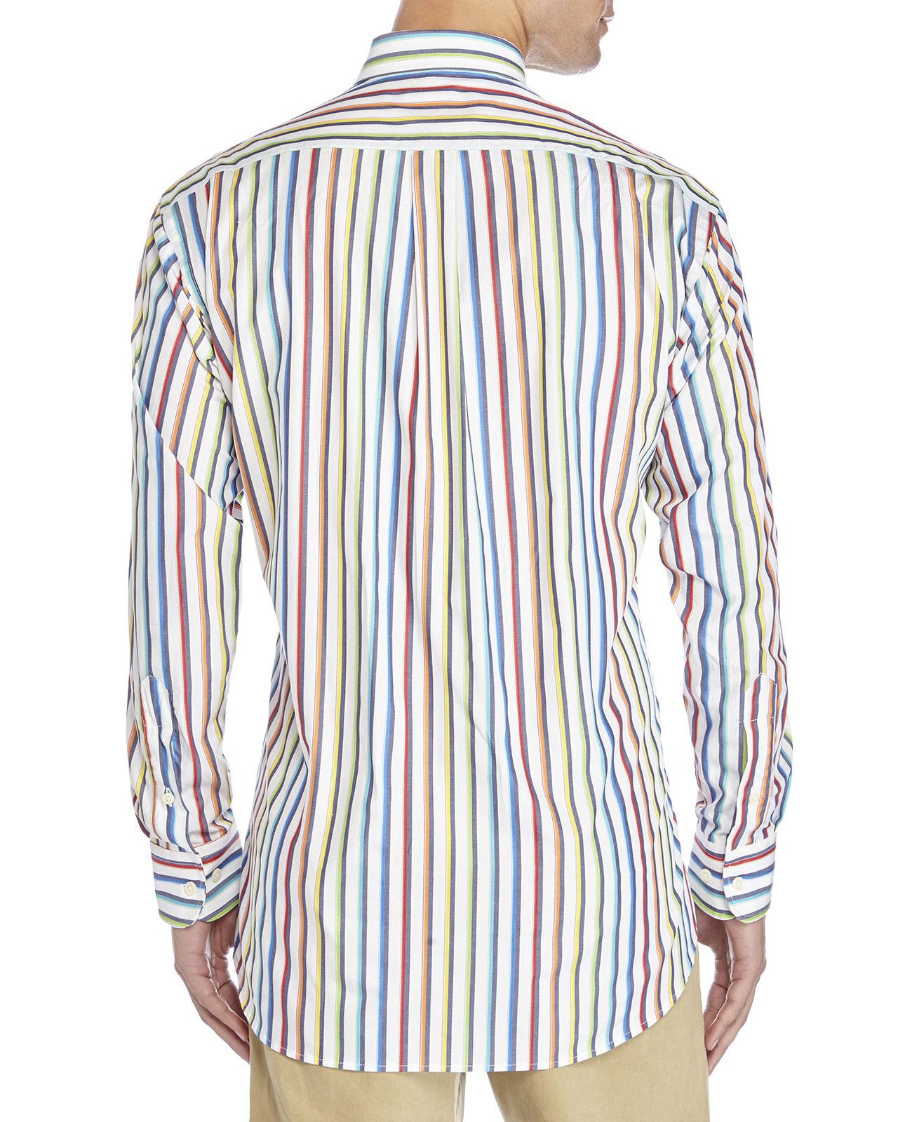 Gitman bros Rainbow Stripe Button-Down Shirt for Men | Lyst