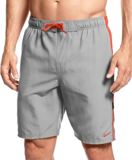 Nike big and tall core contend volley swim trunks in gray for Mens swim shirt big and tall