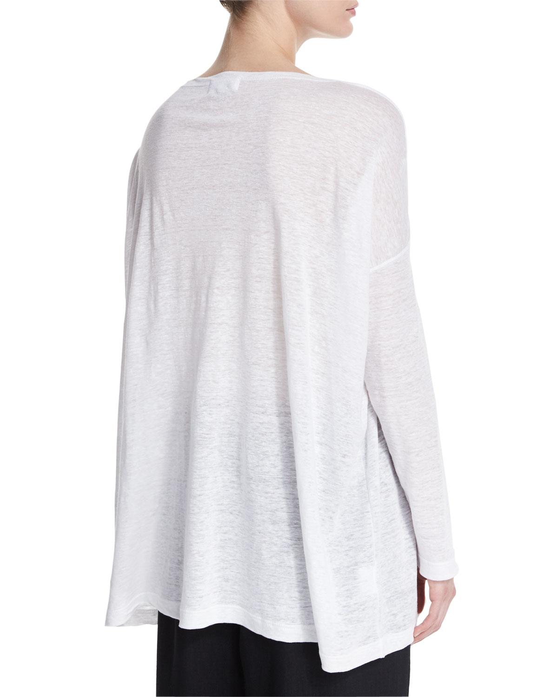 Lyst eskandar long sleeve linen t shirt in white for Linen long sleeve shirt
