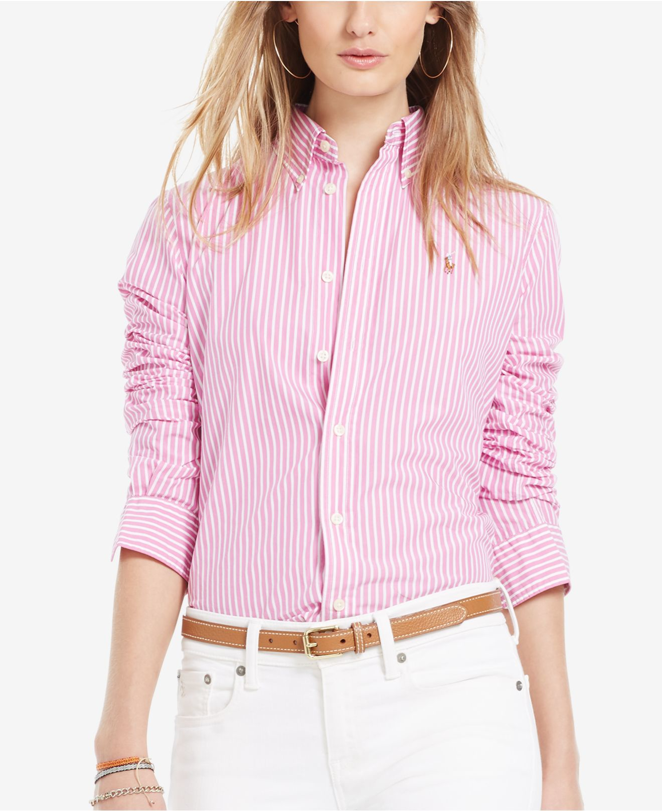 197d029987 shopping lyst polo ralph lauren custom fit striped shirt in pink 5afb1 5bbf6