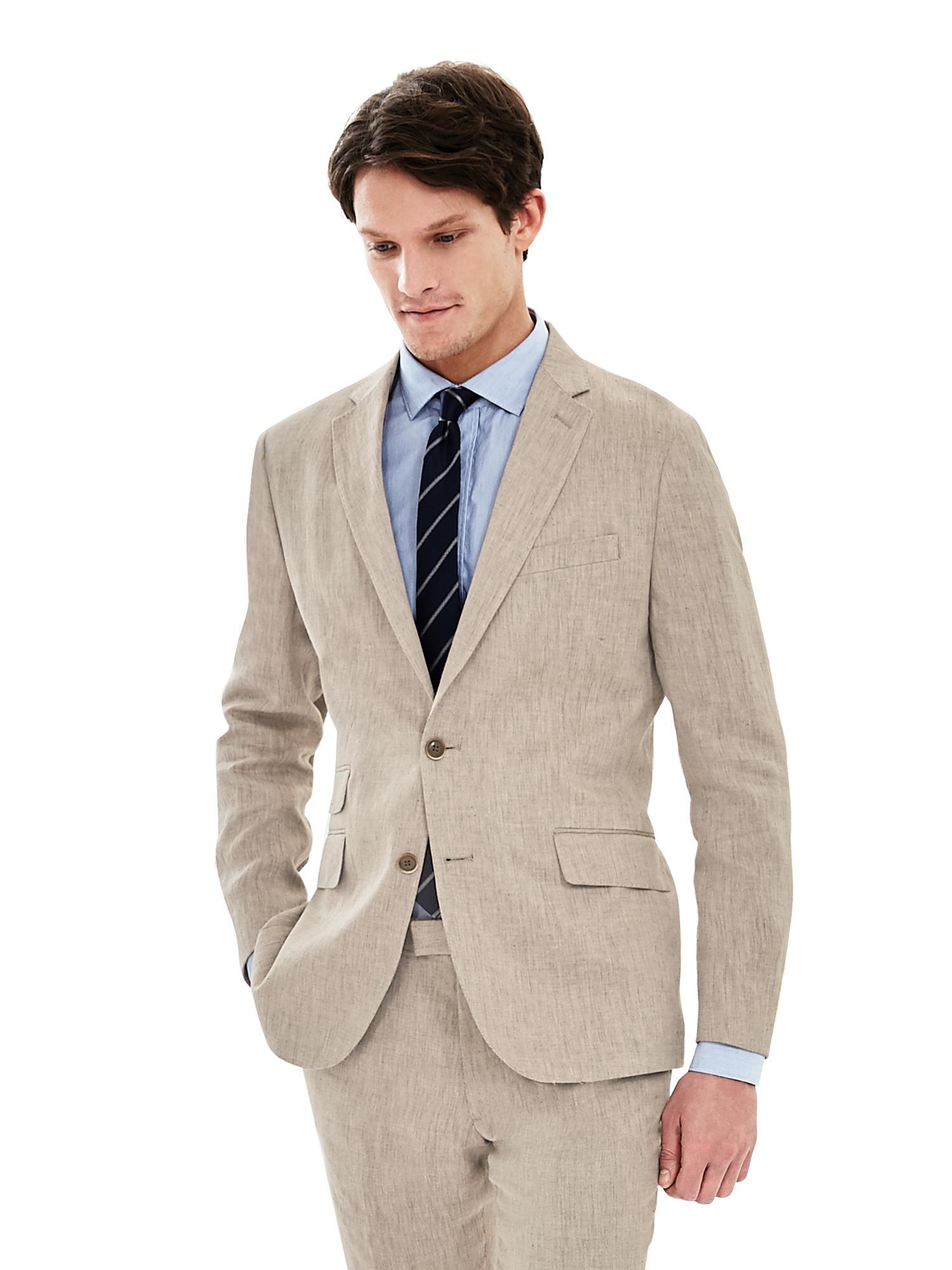 5a352620b534 Lyst - Banana Republic Modern Slim Khaki Linen Suit Jacket in ...