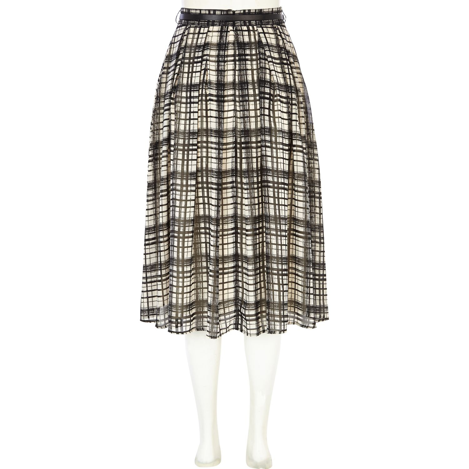 river island black and white check midi skirt in
