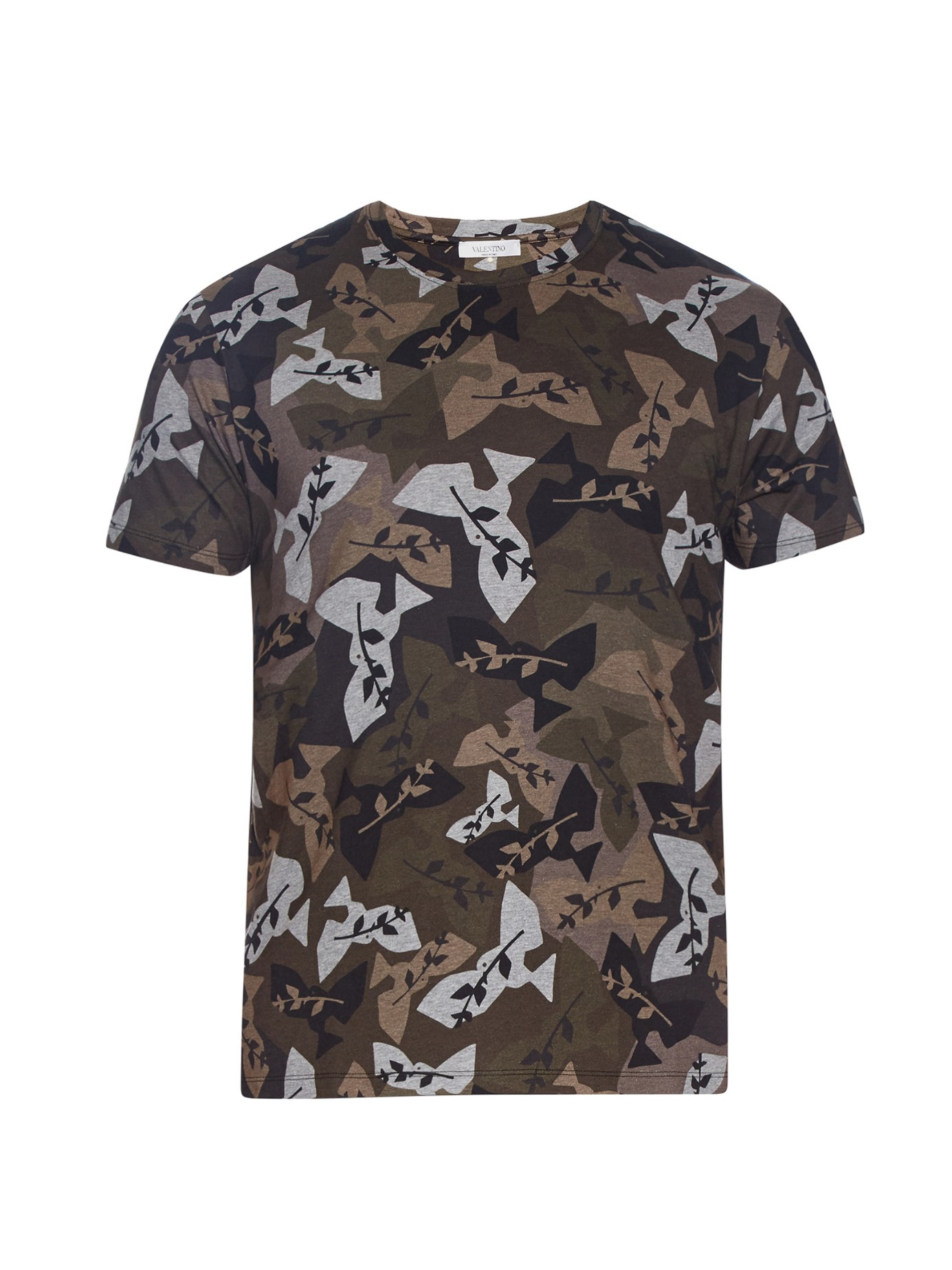 Valentino camouflage print t shirt in red for men lyst for Camouflage t shirt printing