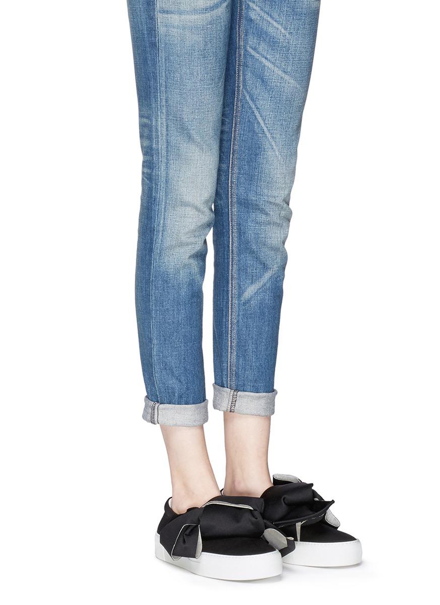 bow denim slip-on sneakers - Black Joshua Sanders Best Seller Cheap Online Free Shipping Ebay ooKb8k