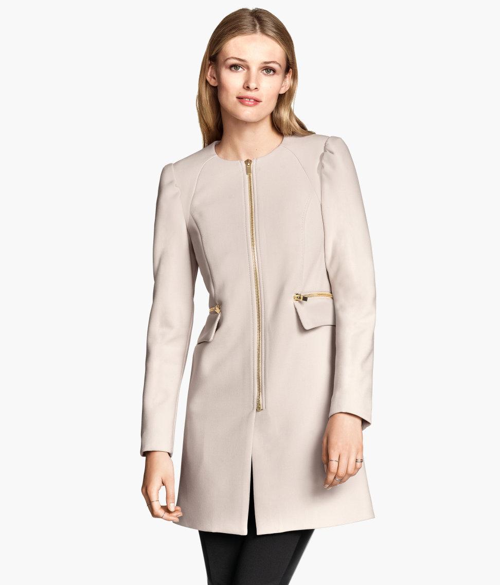 H&m Short Coat in Natural | Lyst